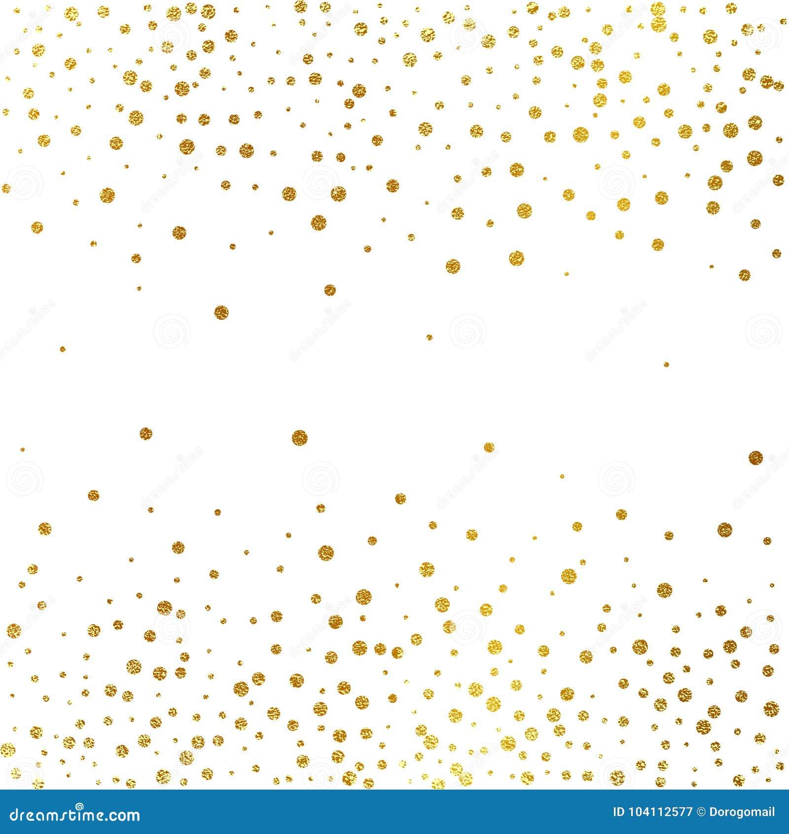Esplosione festiva dei coriandoli Fondo di scintillio dell oro Puntini dorati Pois dell illustrazione di vettore
