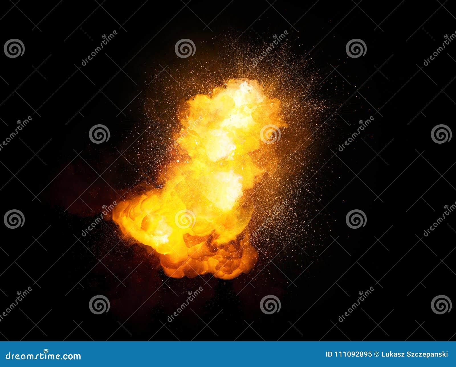 Esplosione luminosa della bomba ardente realistica con le scintille ed il fumo