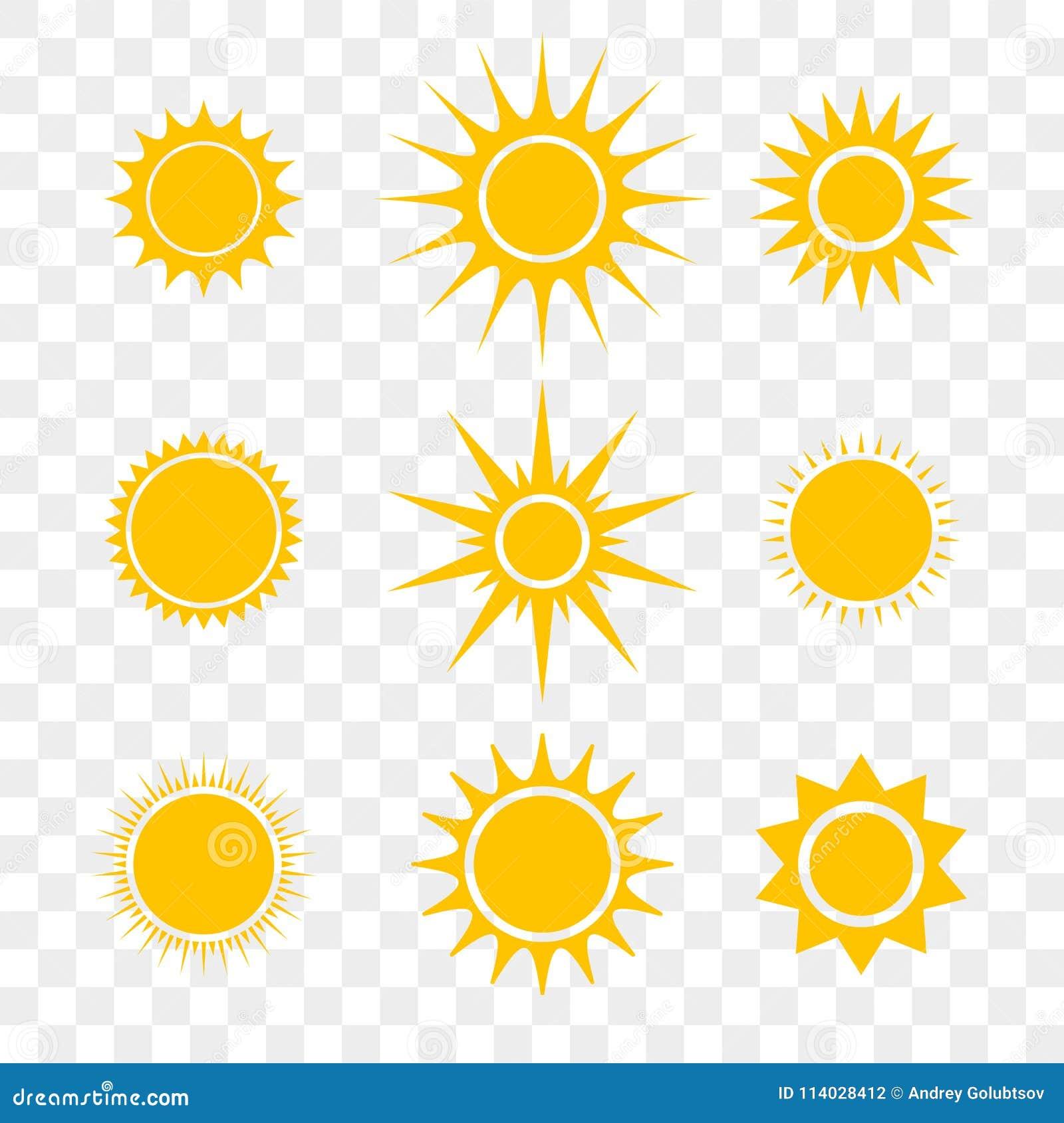Esponga al sole o icone piane di giallo del fumetto di vettore della stella messe