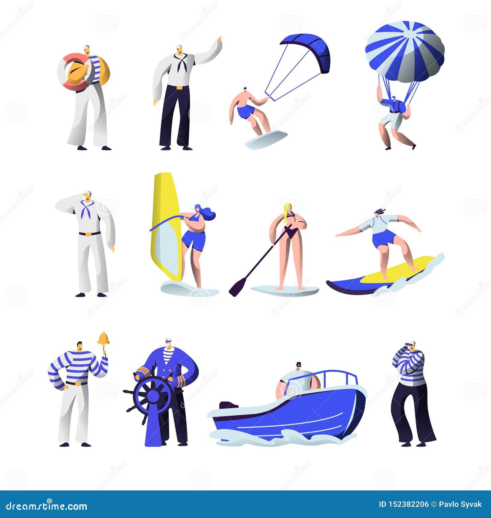 Esportes das horas de verão e grupo extremos das profissões do mar Uniforme do grupo de navio, capitão, marinheiros, surfando, pl
