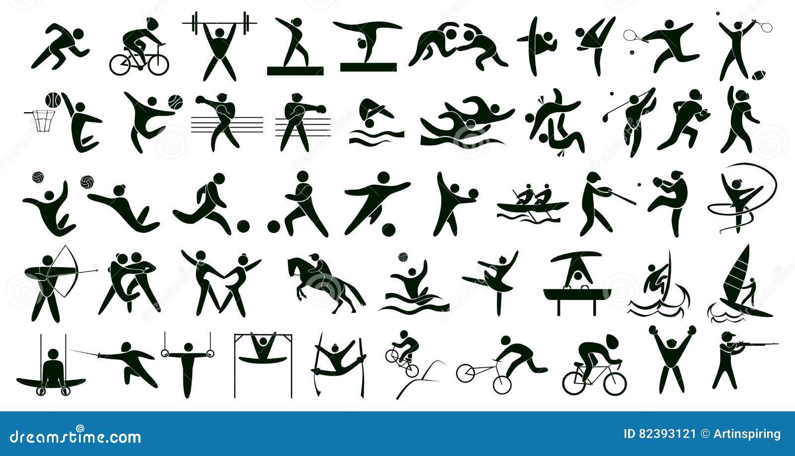 19f199745 Esportes do verão ajustados no branco Todos os tipos dos esportes e do  entretenimento como o voleibol