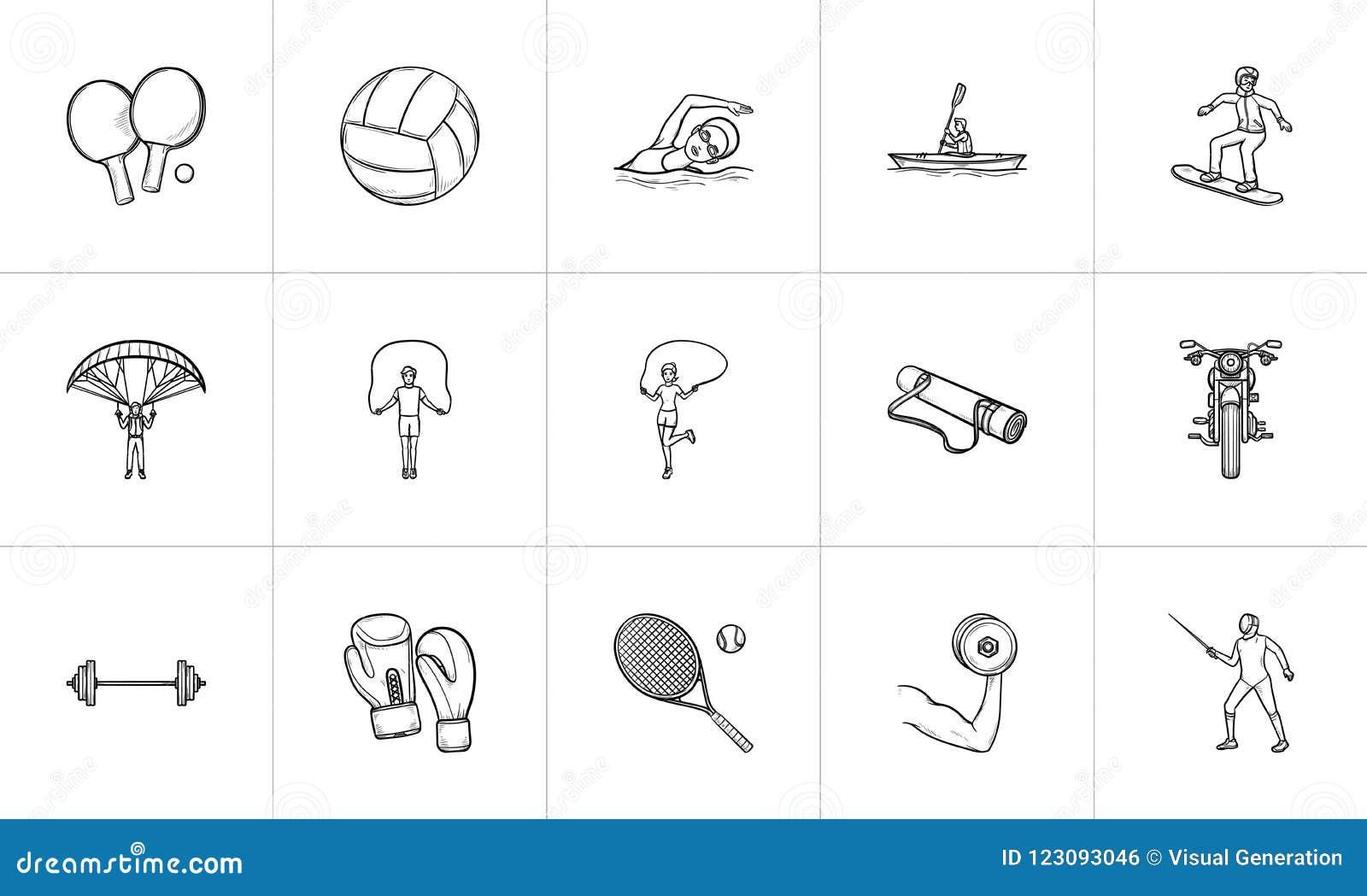 6f765e5a0 Esporte e grupo tirado mão do ícone da garatuja do esboço do equipamento  Grupo do ícone da garatuja do esboço para a cópia