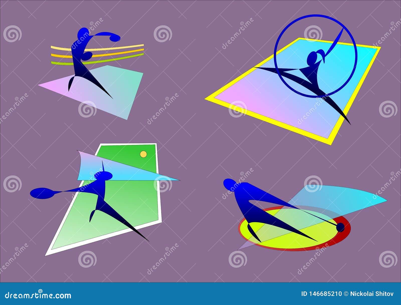 Esportes, encaixotamento, ginástico, martelo, tênis