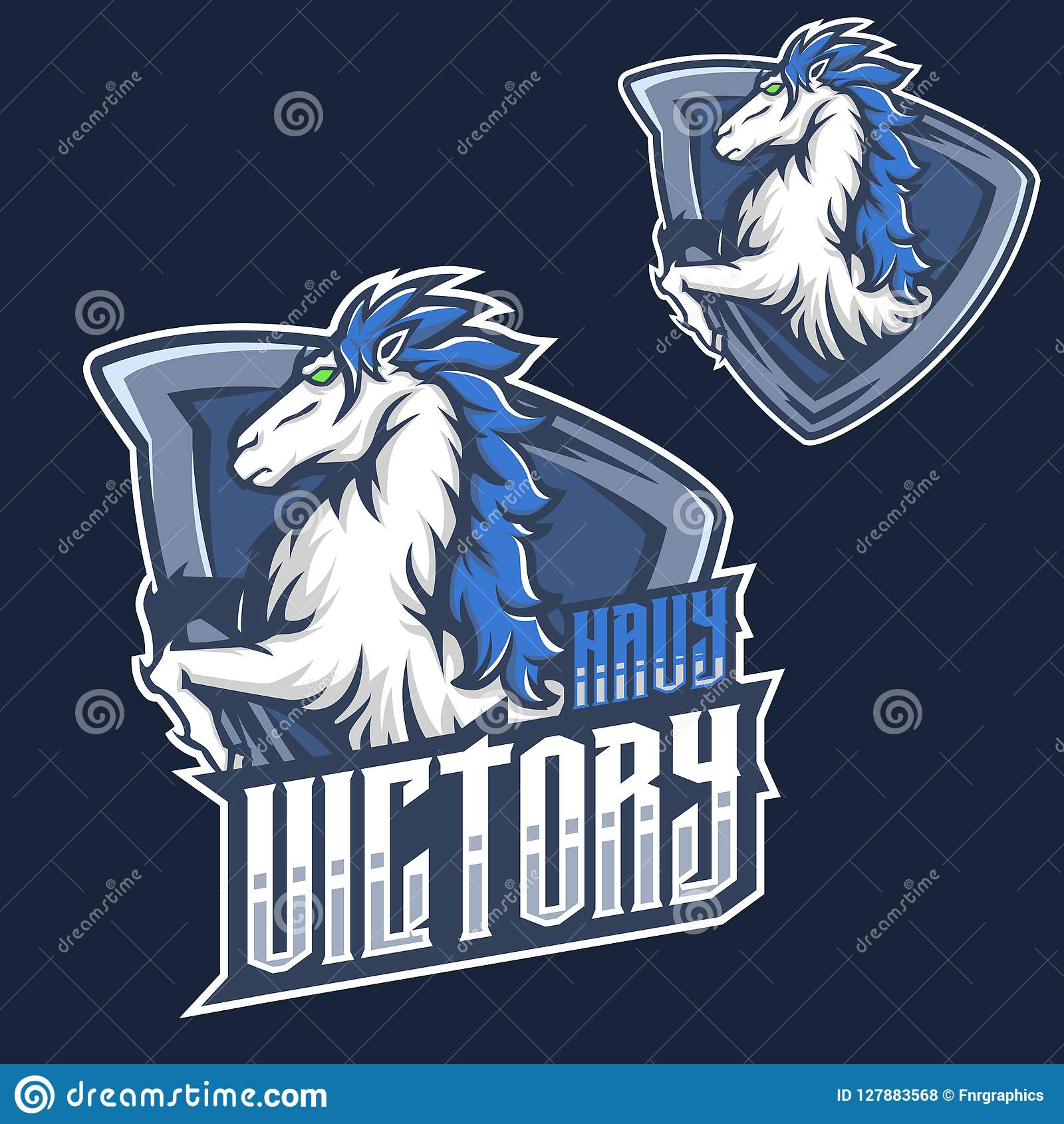 mascot f mustang horse head esport gaming mascot logo template stock