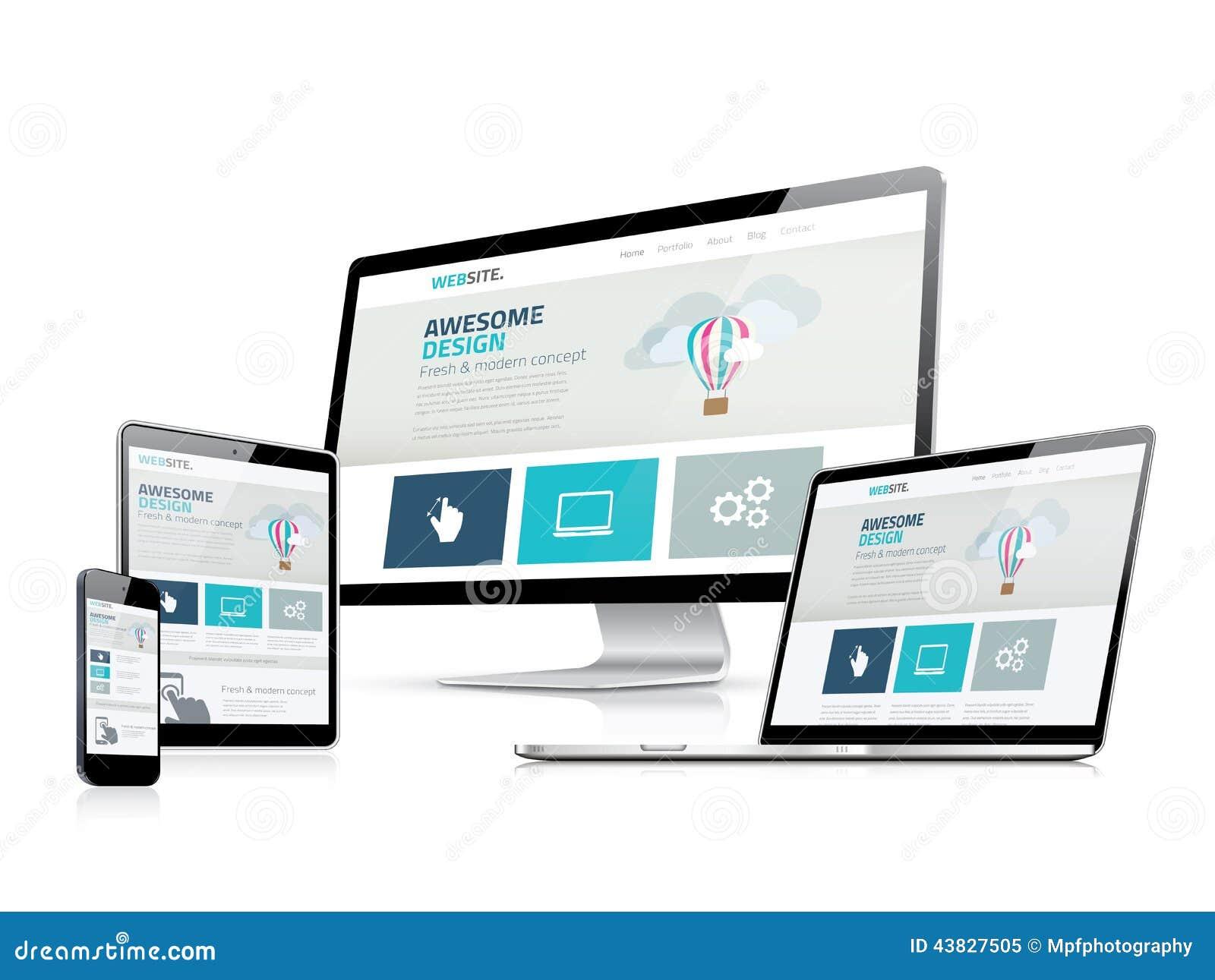 Esposizioni di vettore rispondenti impressionanti del lato di sviluppo di web design