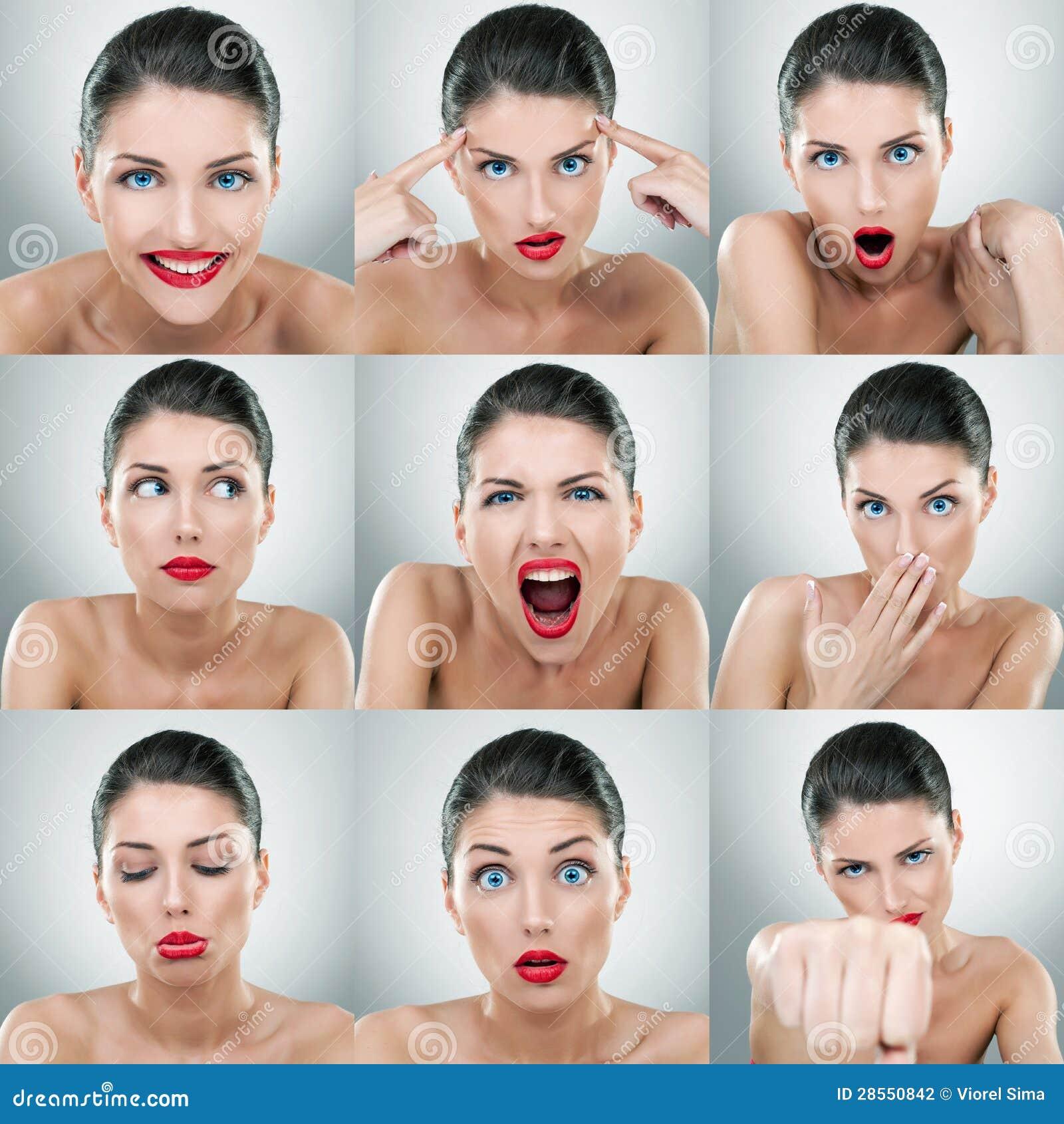 Espressioni del fronte della giovane donna composite