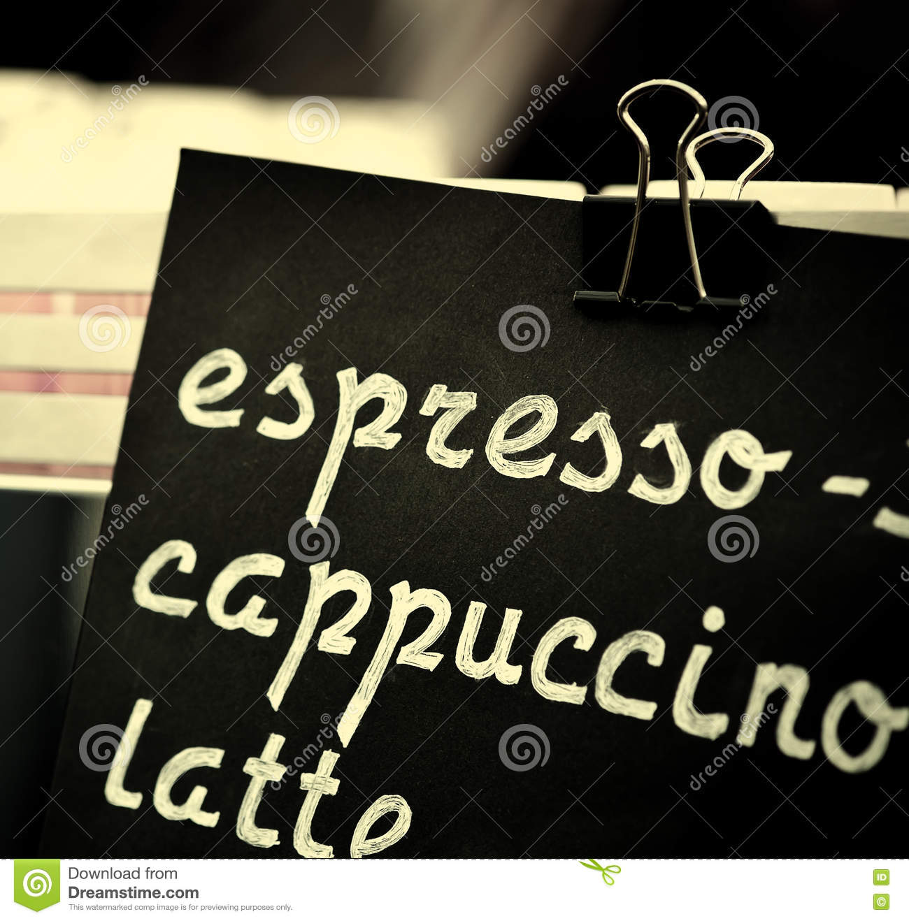 Espresso, Cappuccino, Latte Sign. Hand Drawing Price Text