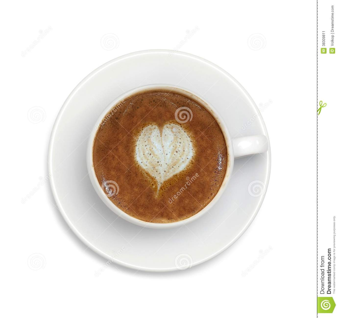 Espresso Coffee With Heart Symbol Isolated On White Stock