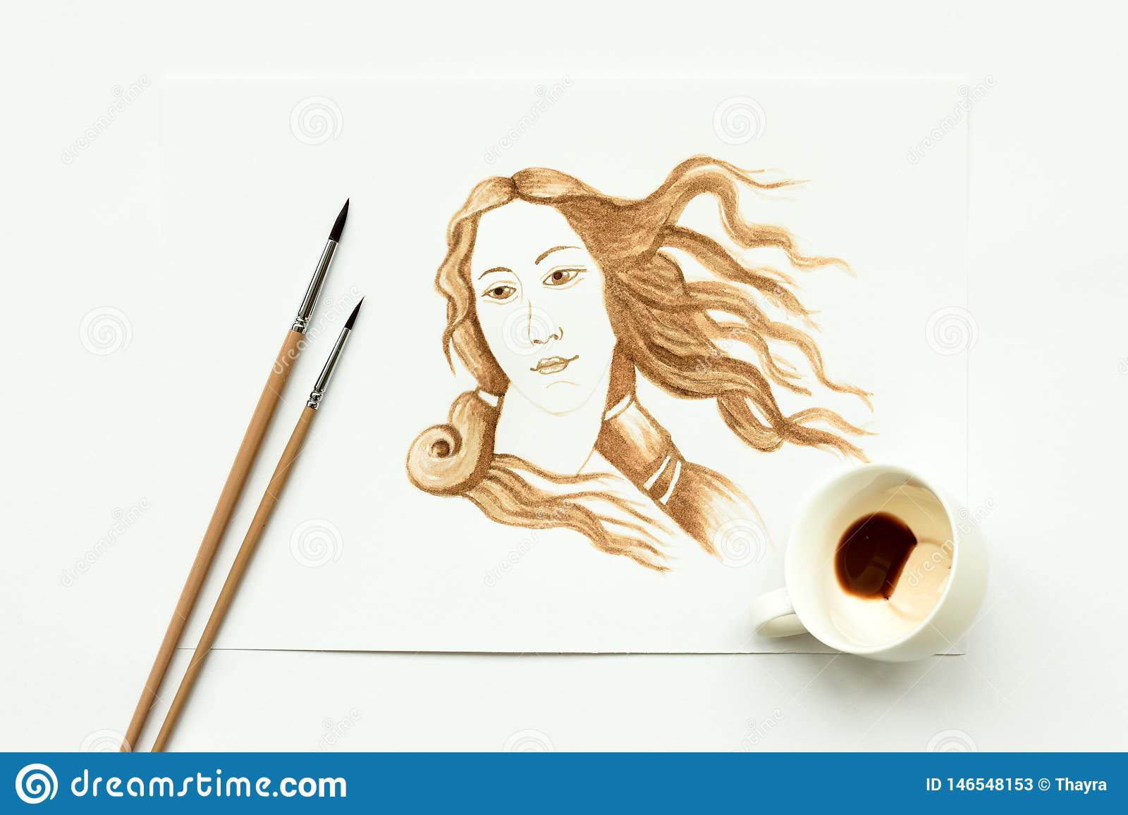 Espresso cup with hand drawing birth of Venus. Minimal, coffee art or creative concept. Top view