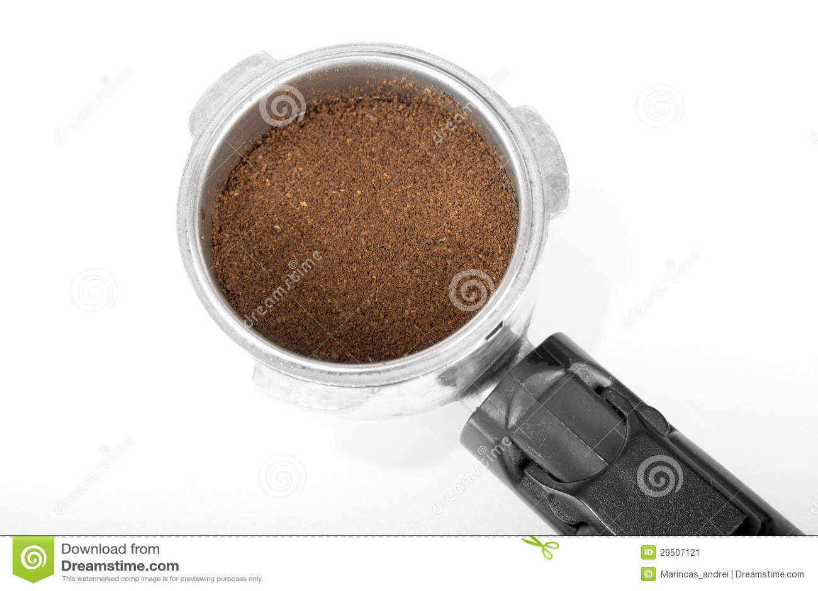 Espresso handle with coffee powder
