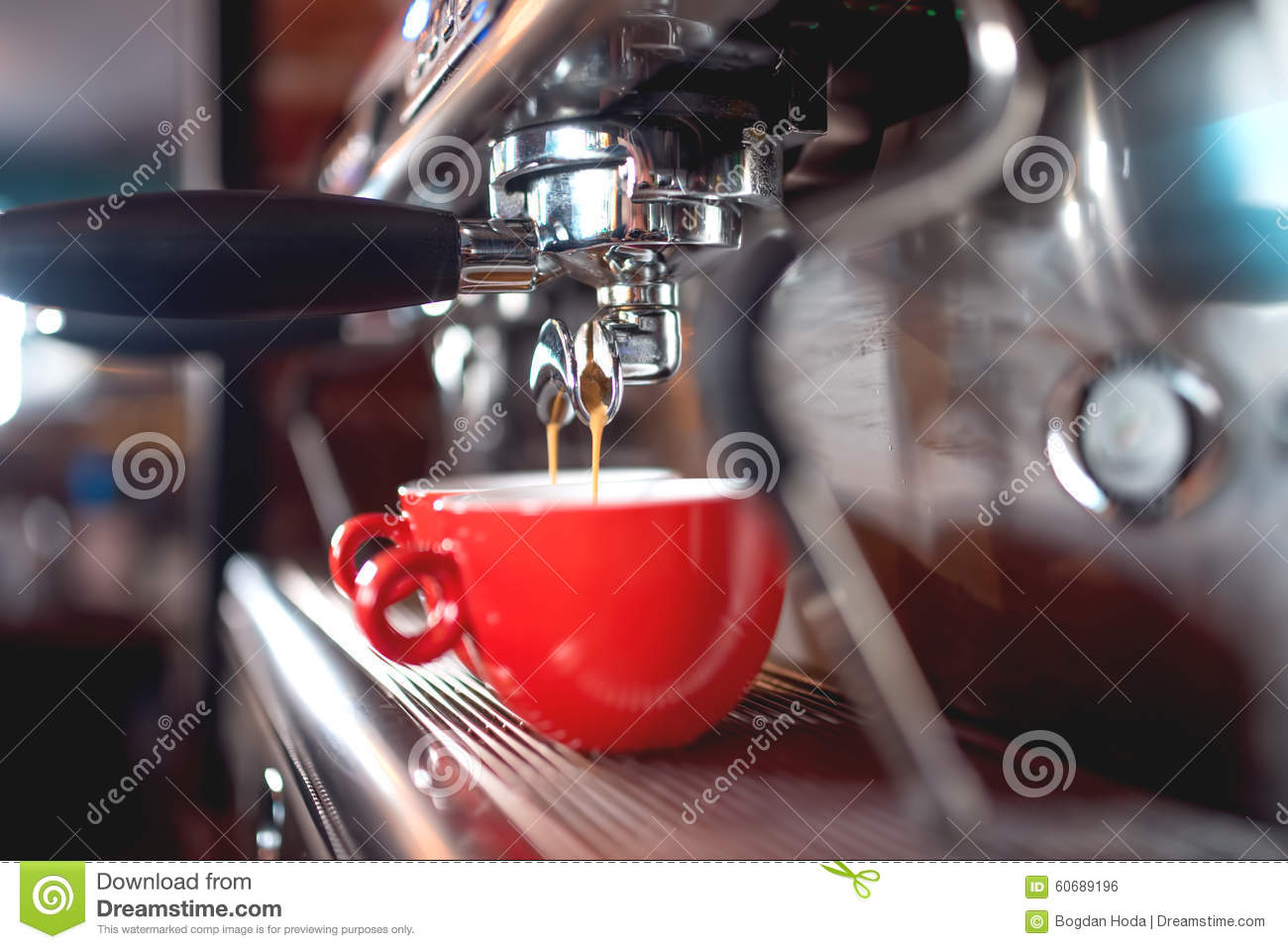 Espresso Machine Pouring Coffee In Cups At Restaurant Or