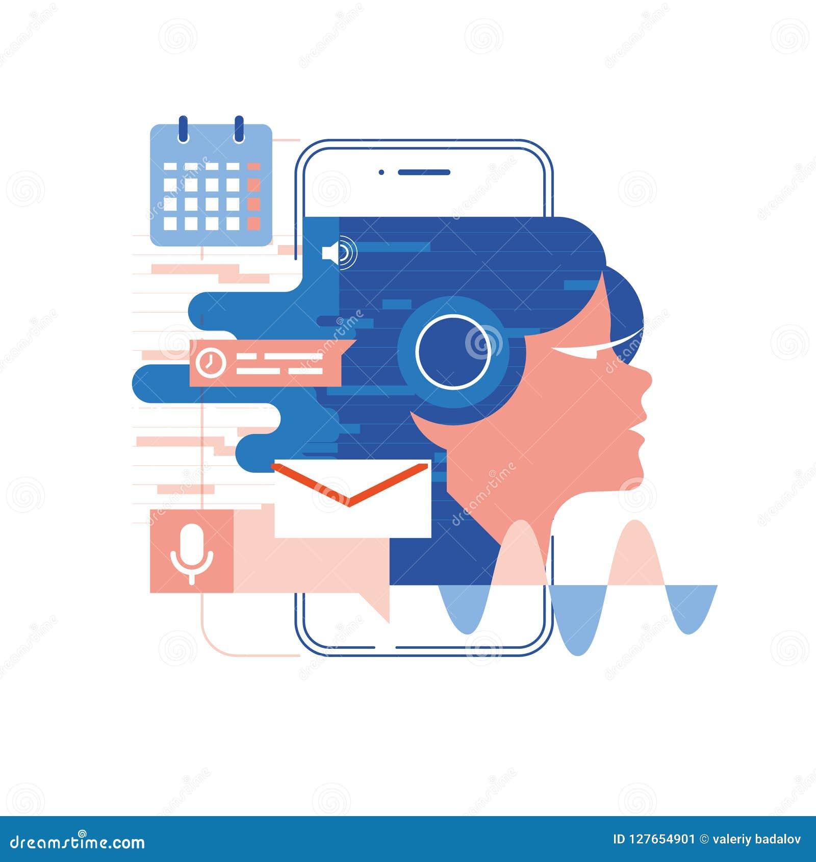 Esprima l assistente, il cellulare app, illustrazione di vettore di concetto di riconoscimento della voce e dell assistente perso