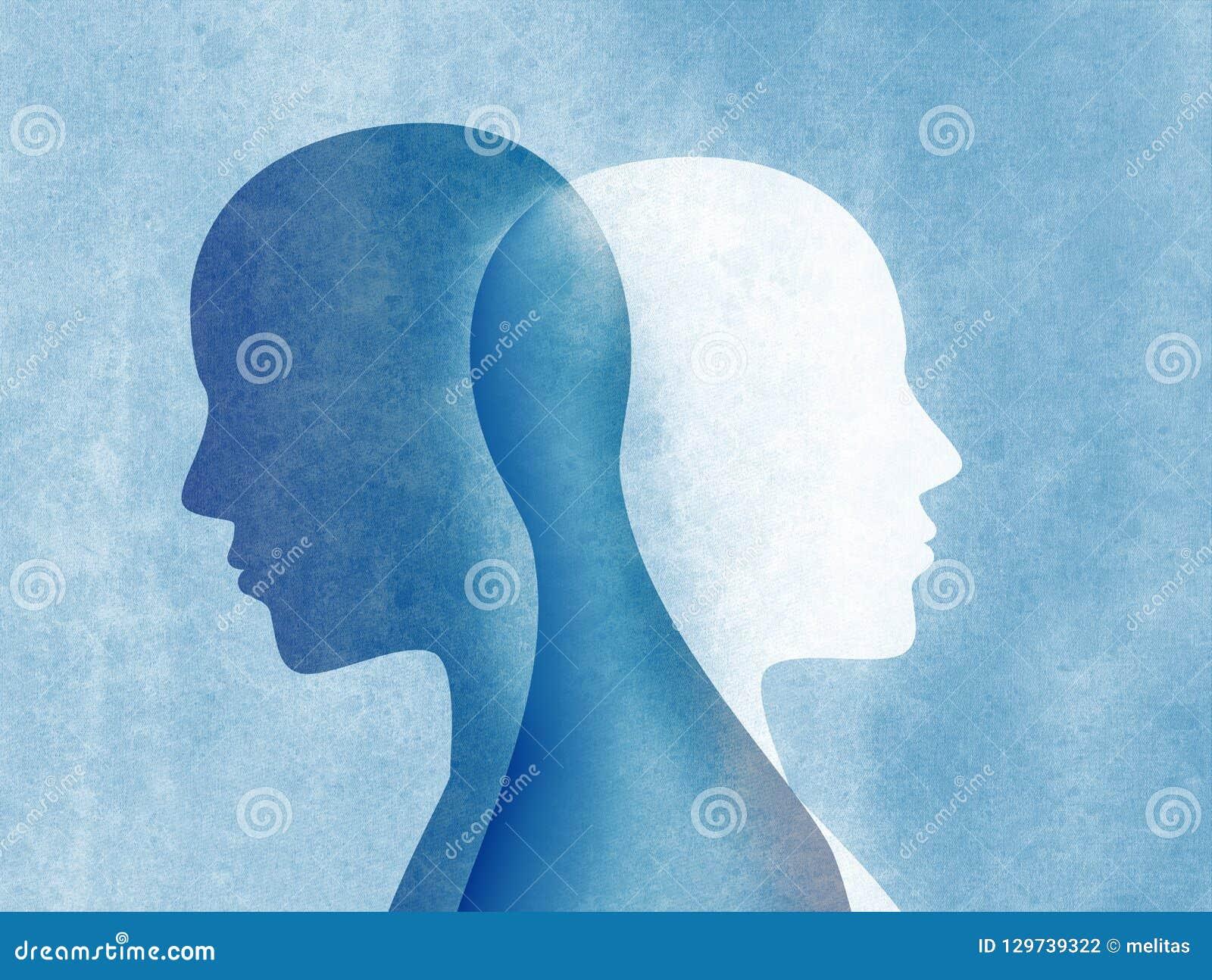 Esprit de trouble bipolaire mental Double personnalité Troubles affectifs Double concept de personnalité Silhouette sur le fond b