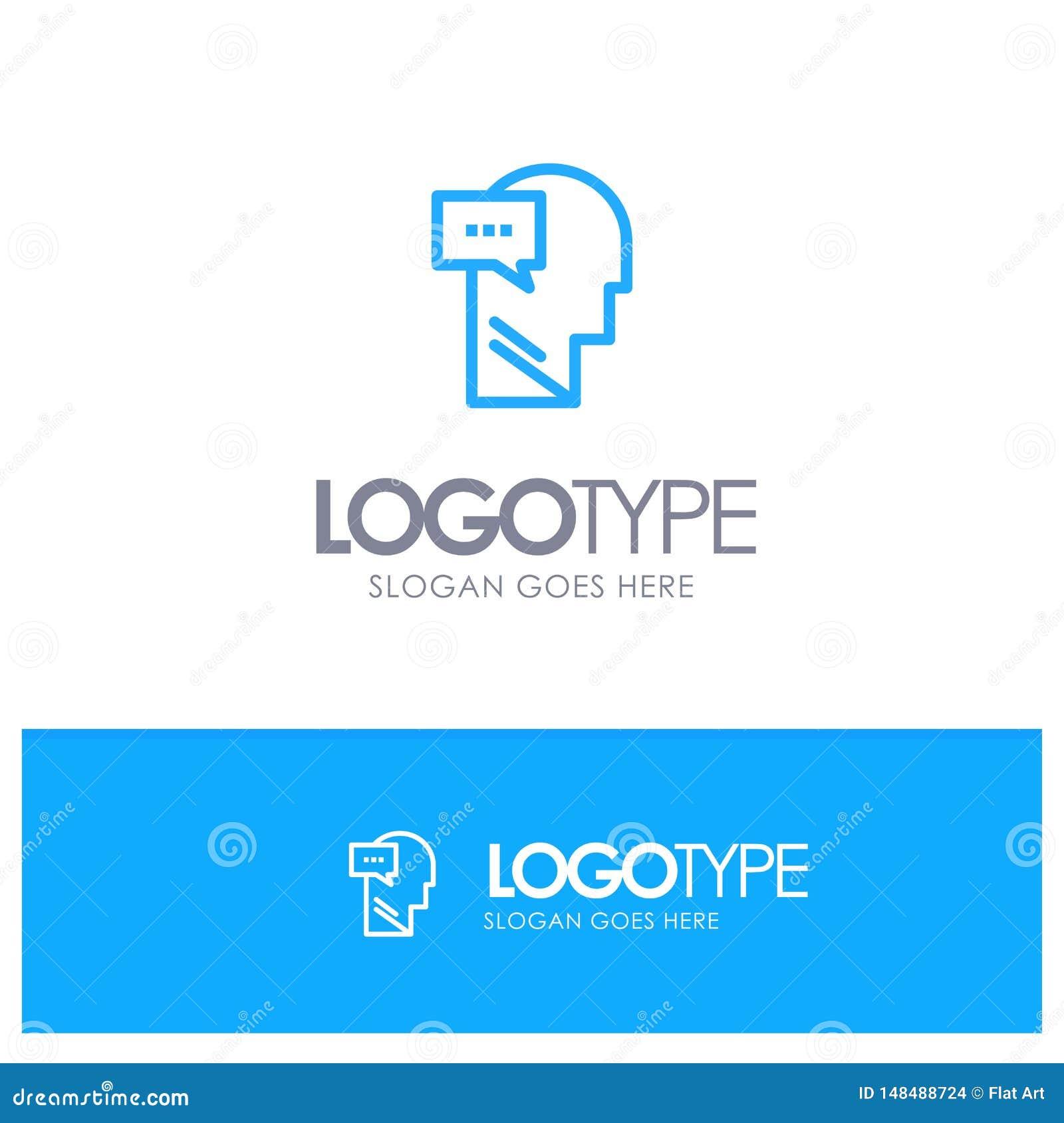 Esprit, dialogue, contour bleu intérieur et principal Logo Place pour le Tagline