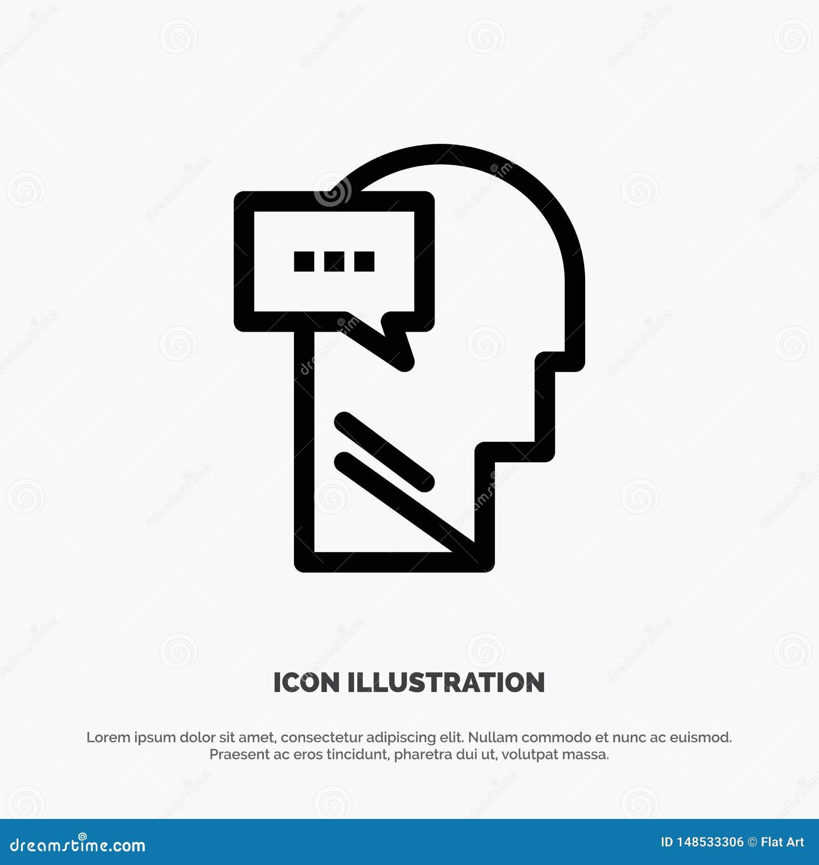 Esprit, dialogue, ligne intérieure et principale vecteur d icône