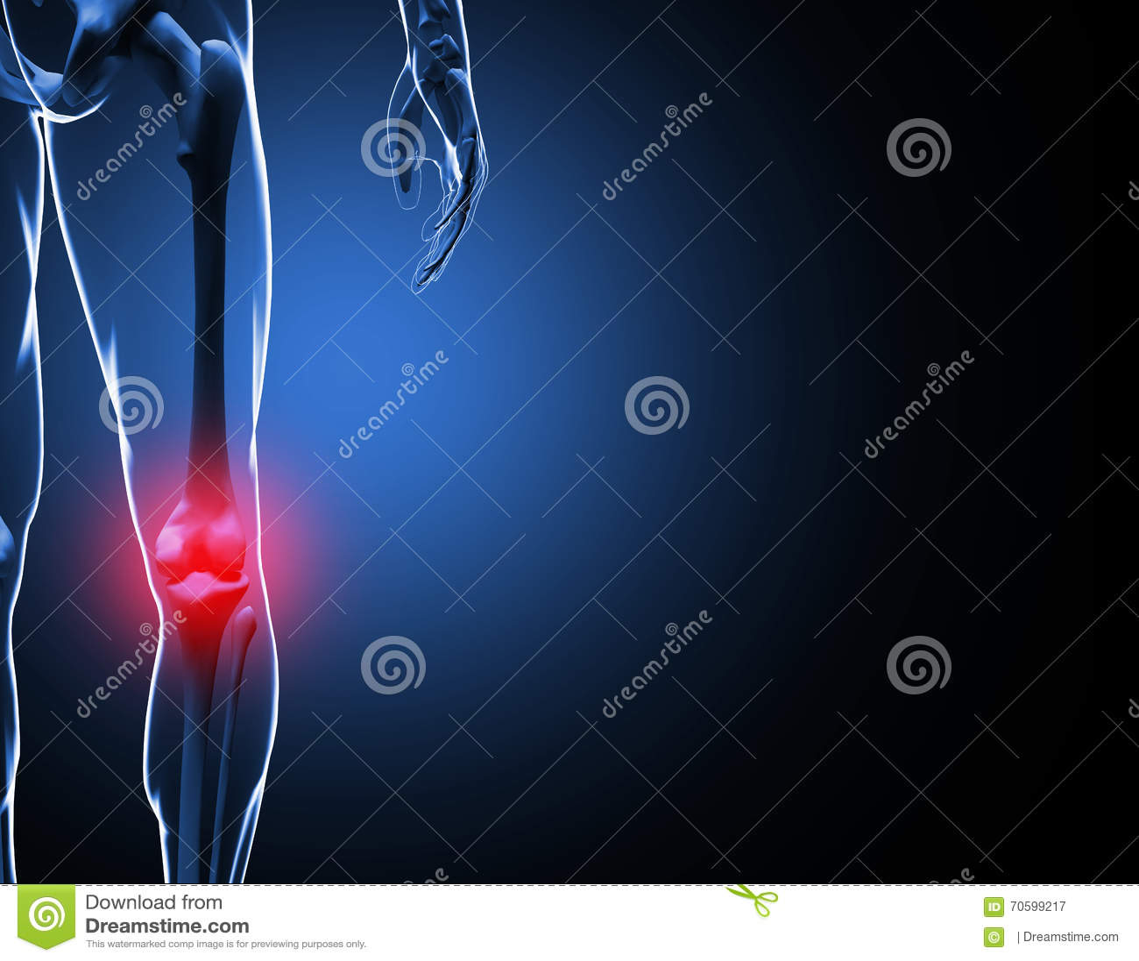 Esqueleto da dor do joelho da ilustração 3d