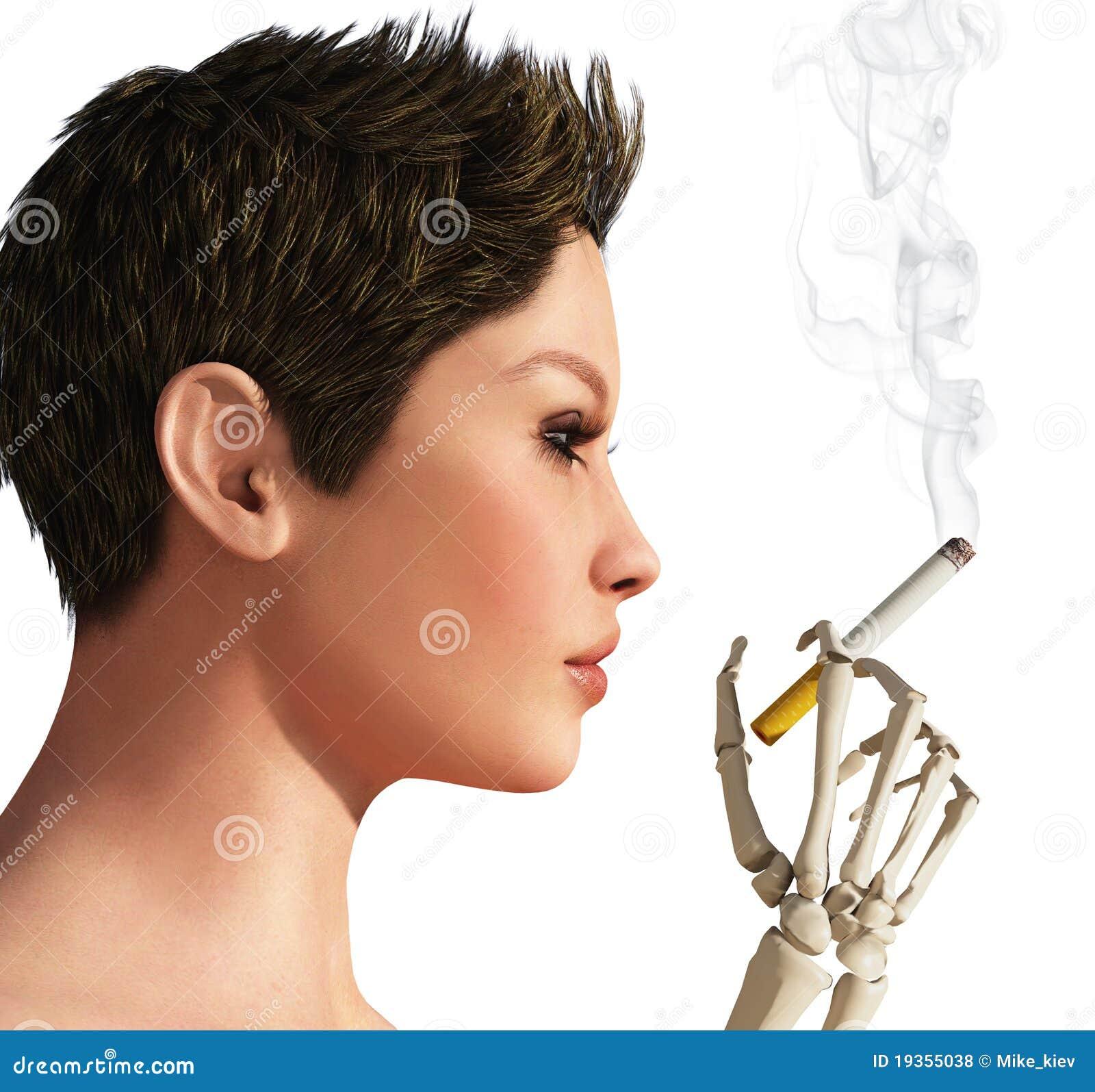 Esqueleto de fumo da mulher e da mão