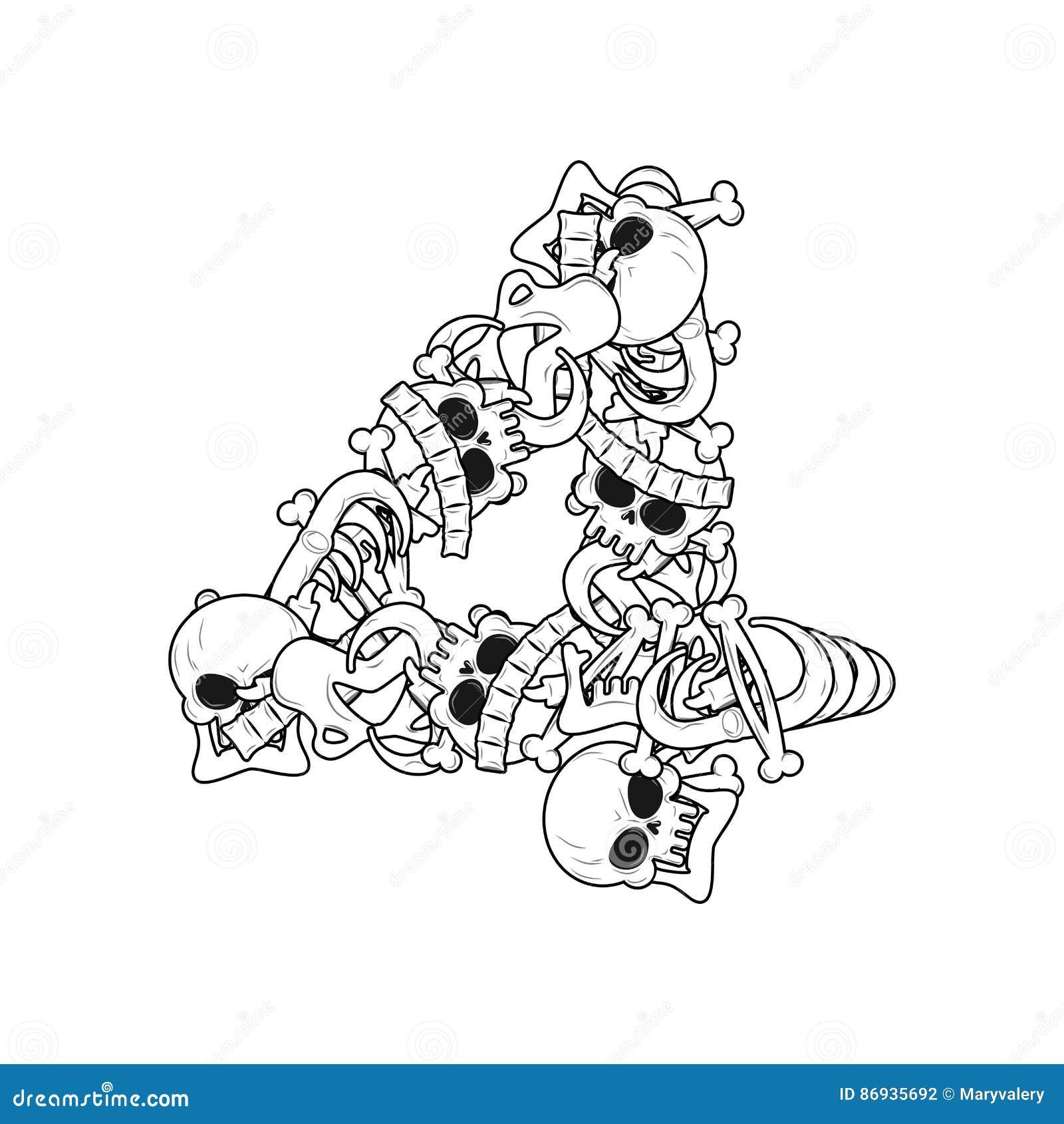 Esqueleto Del Número 4 Fuente Cuatro De Los Huesos Anatomía De Un ...