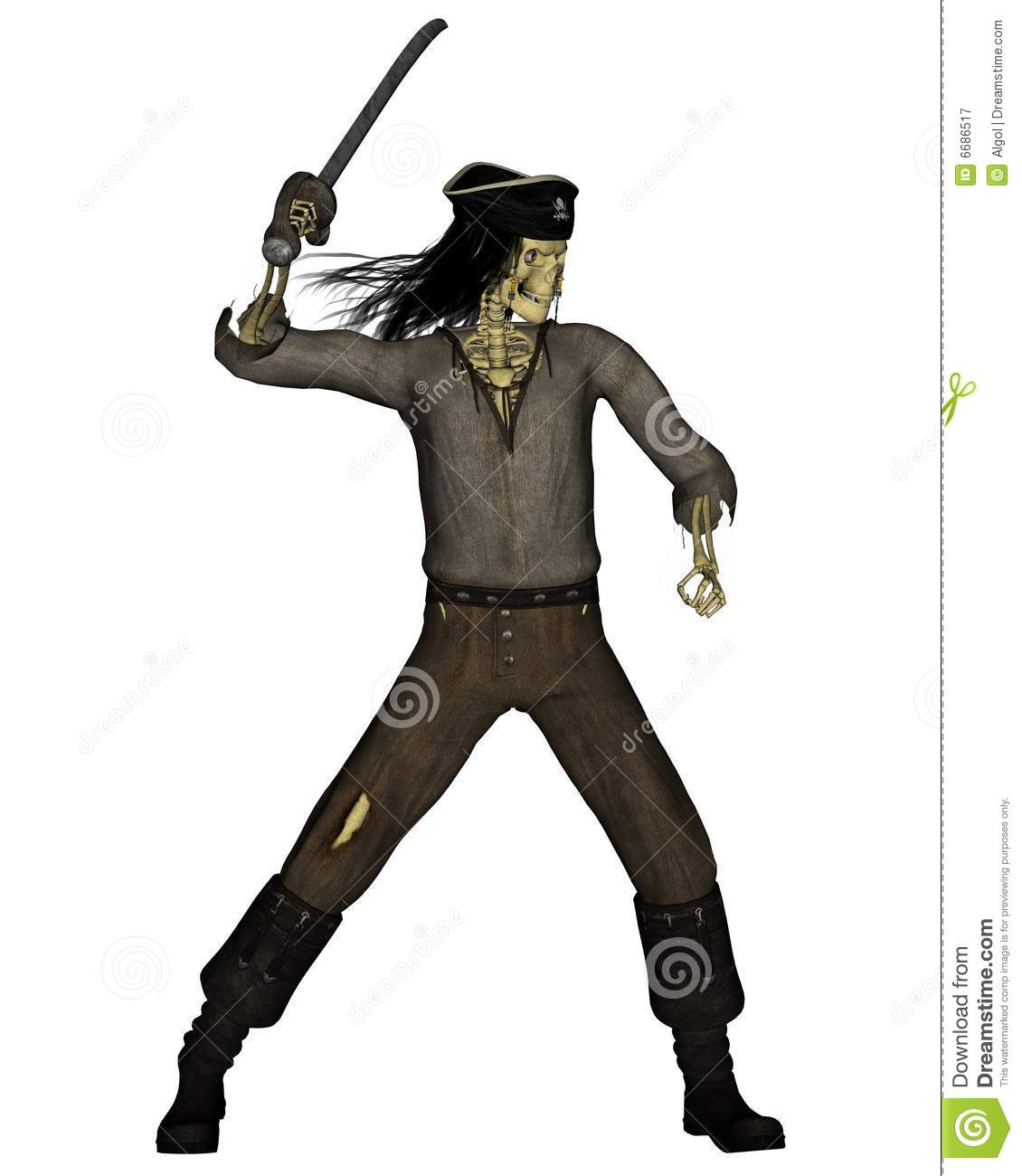 Esqueleto do pirata dos Undead - 3