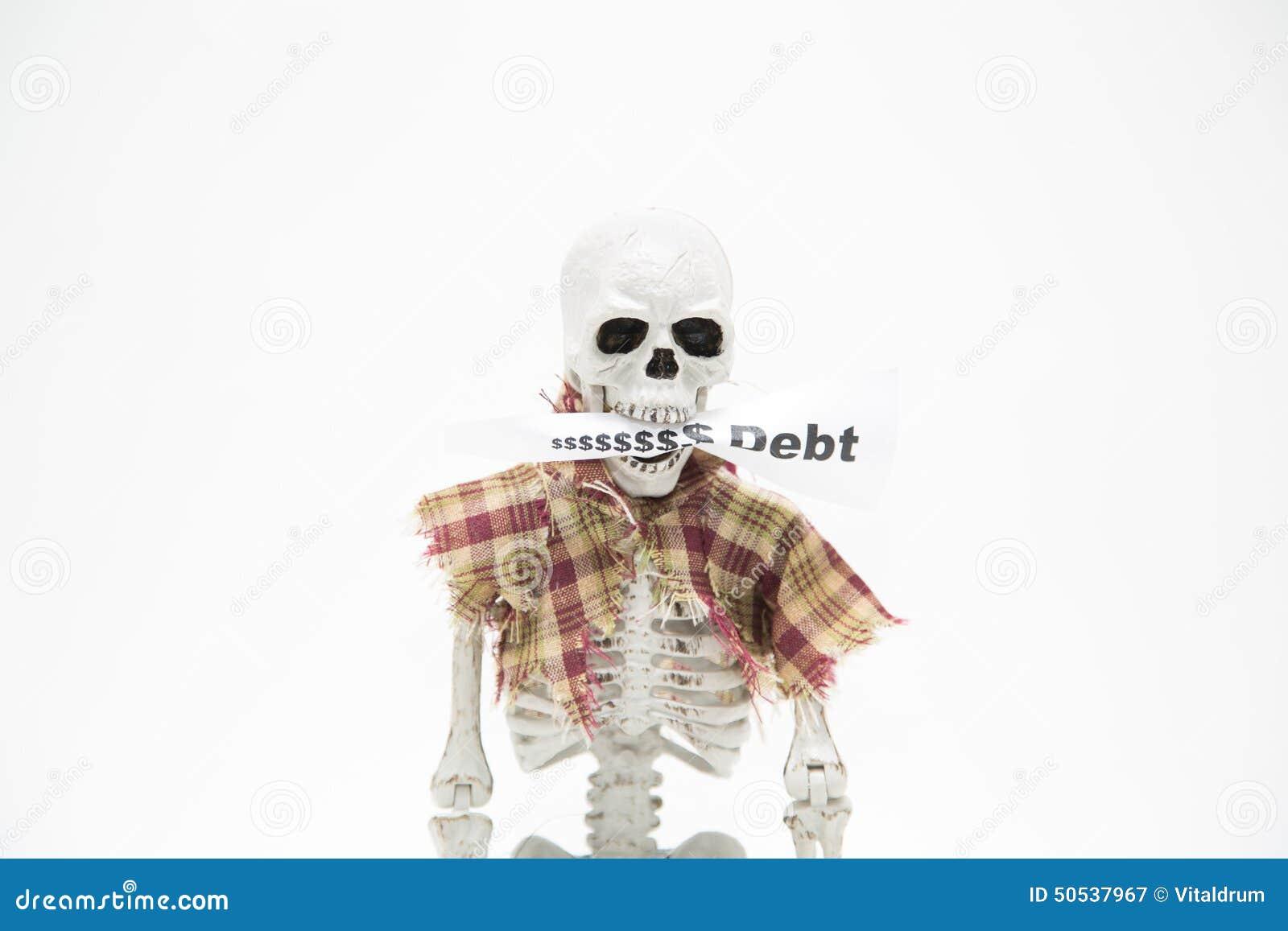 Esqueleto Humano Con La Etiqueta Del Mensaje En Sus Mandíbulas En ...