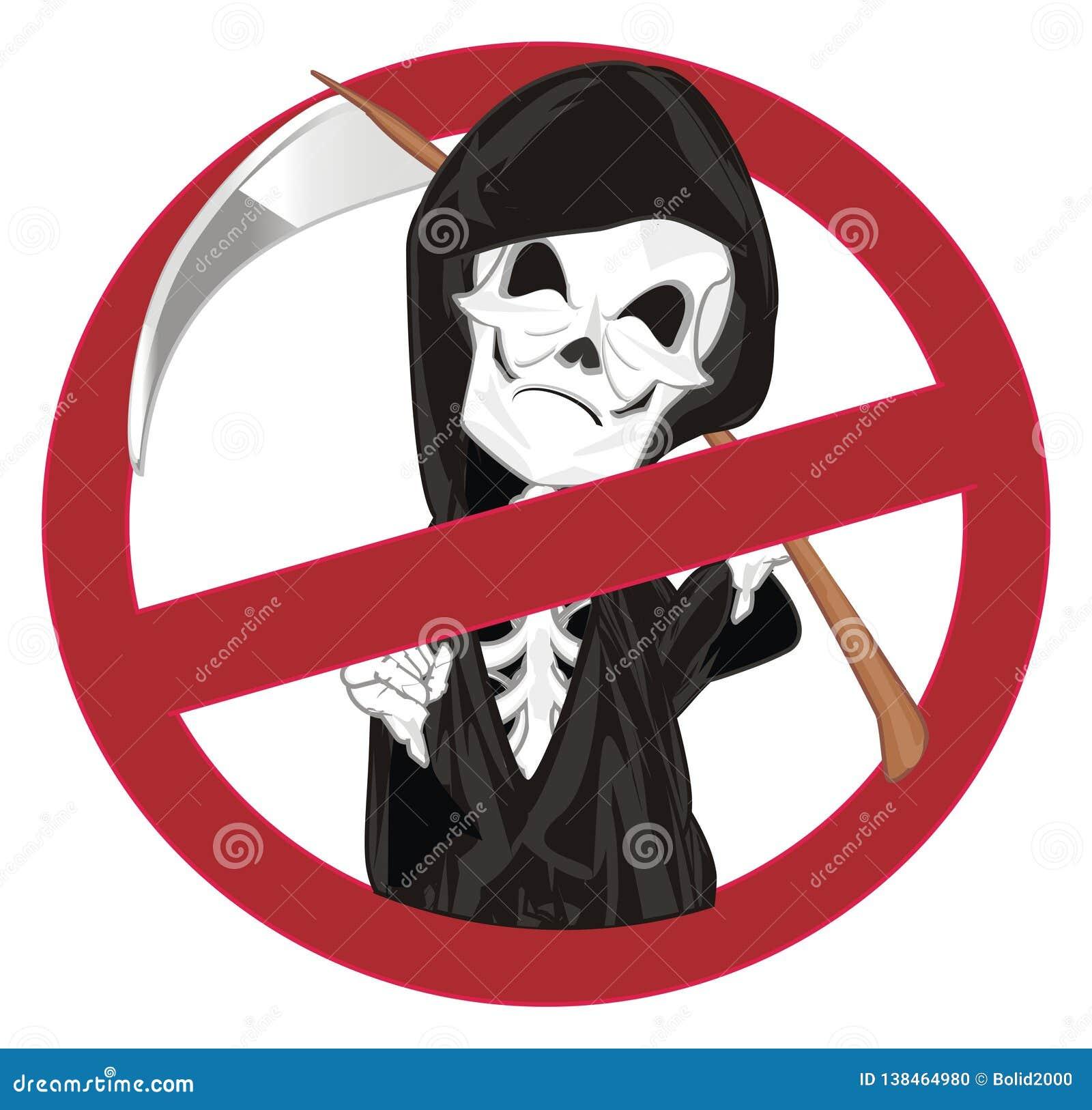 Esqueleto malvado en la prohibición