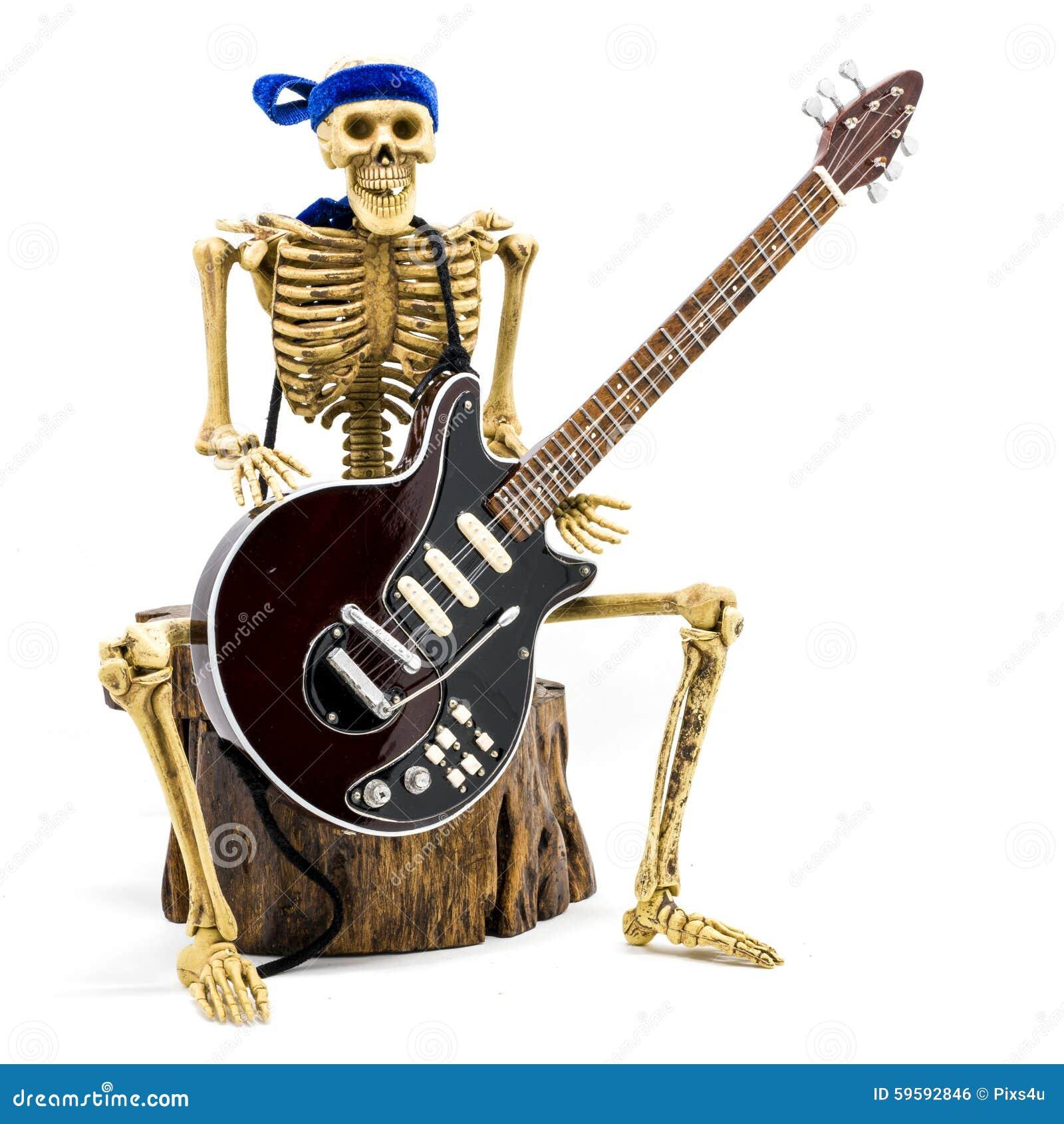 Esqueleto Modelo Que Toca La Guitarra Eléctrica Foto de archivo ...