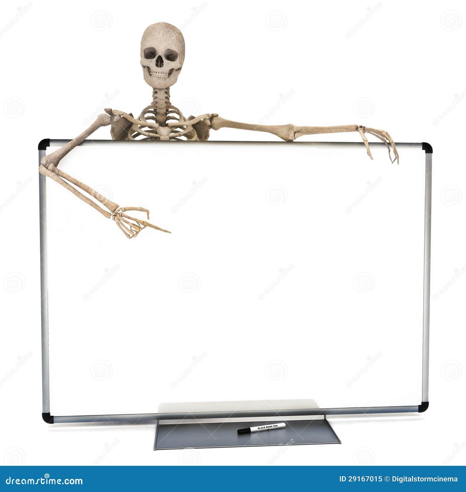 Esqueleto Que Se Inclina Sobre Una Tarjeta Blanca De La Etiqueta De ...