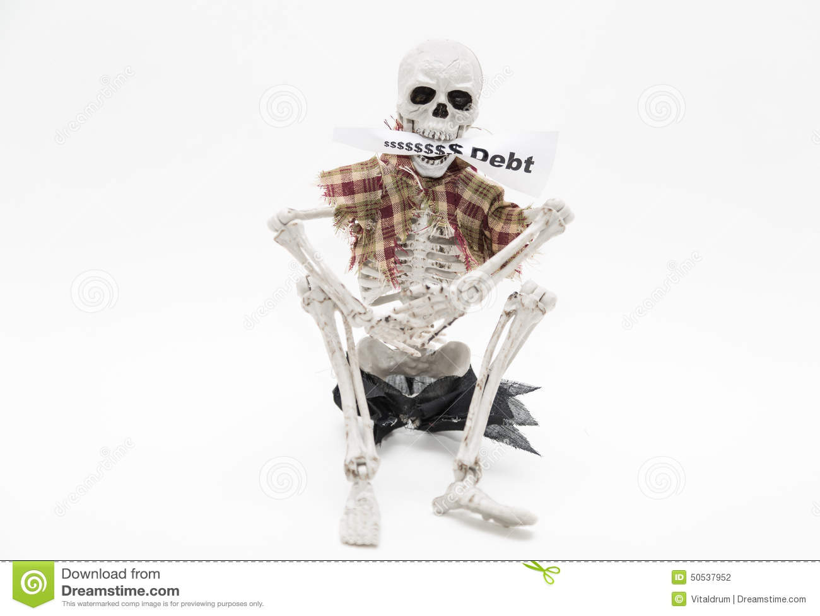 Esqueleto Que Sienta Y Que Sostiene La Etiqueta Del Mensaje En Sus ...