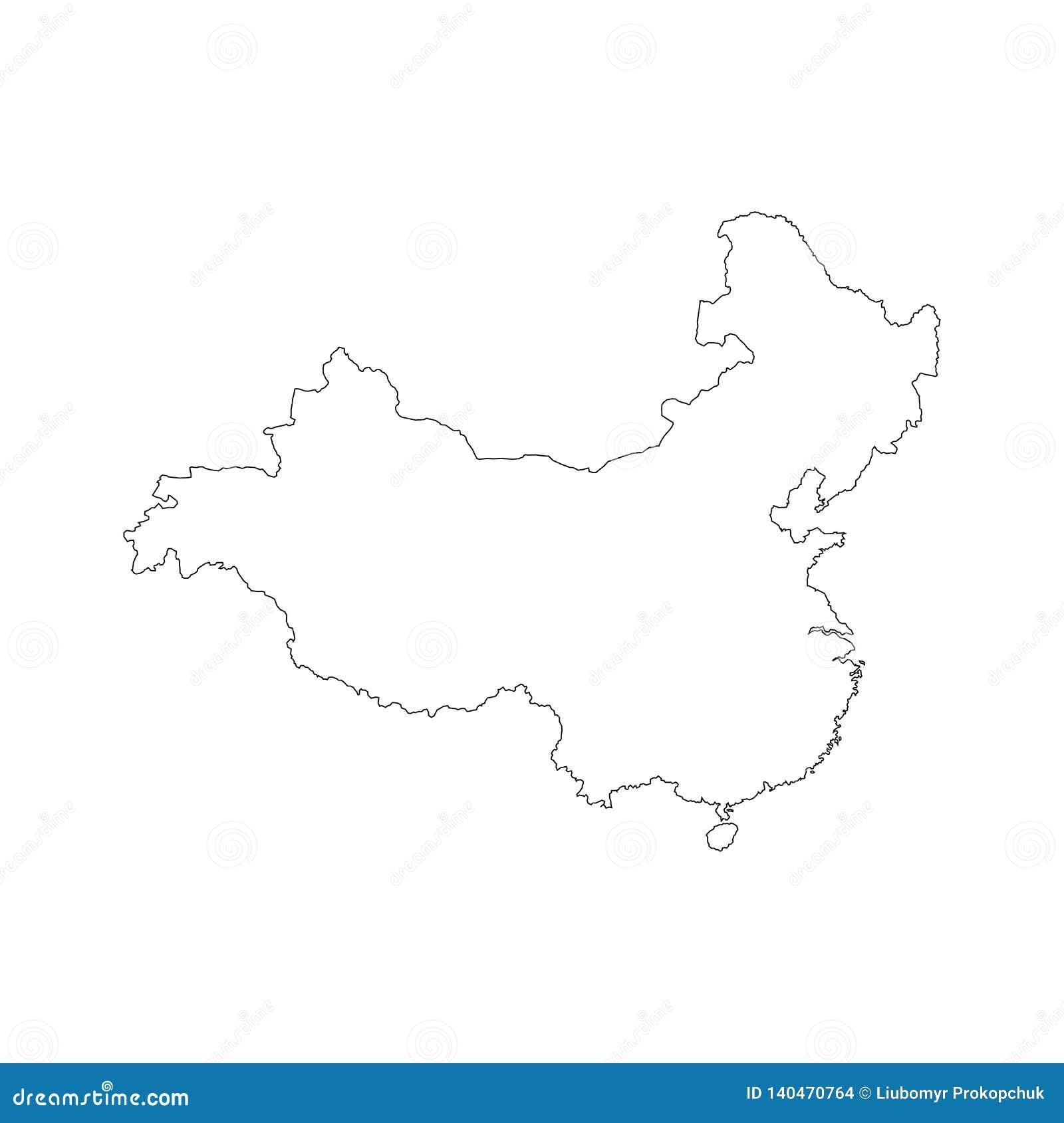 Esquema China del negro del mapa