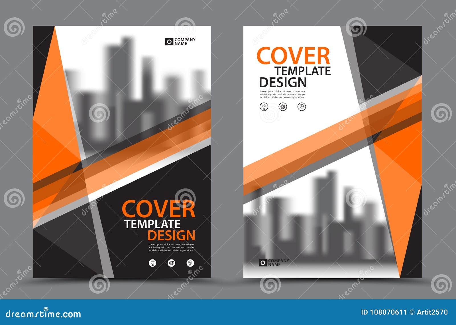 Esquema de cores alaranjado com molde do projeto da capa do livro do negócio do fundo da cidade no A4 Disposição do inseto do fol
