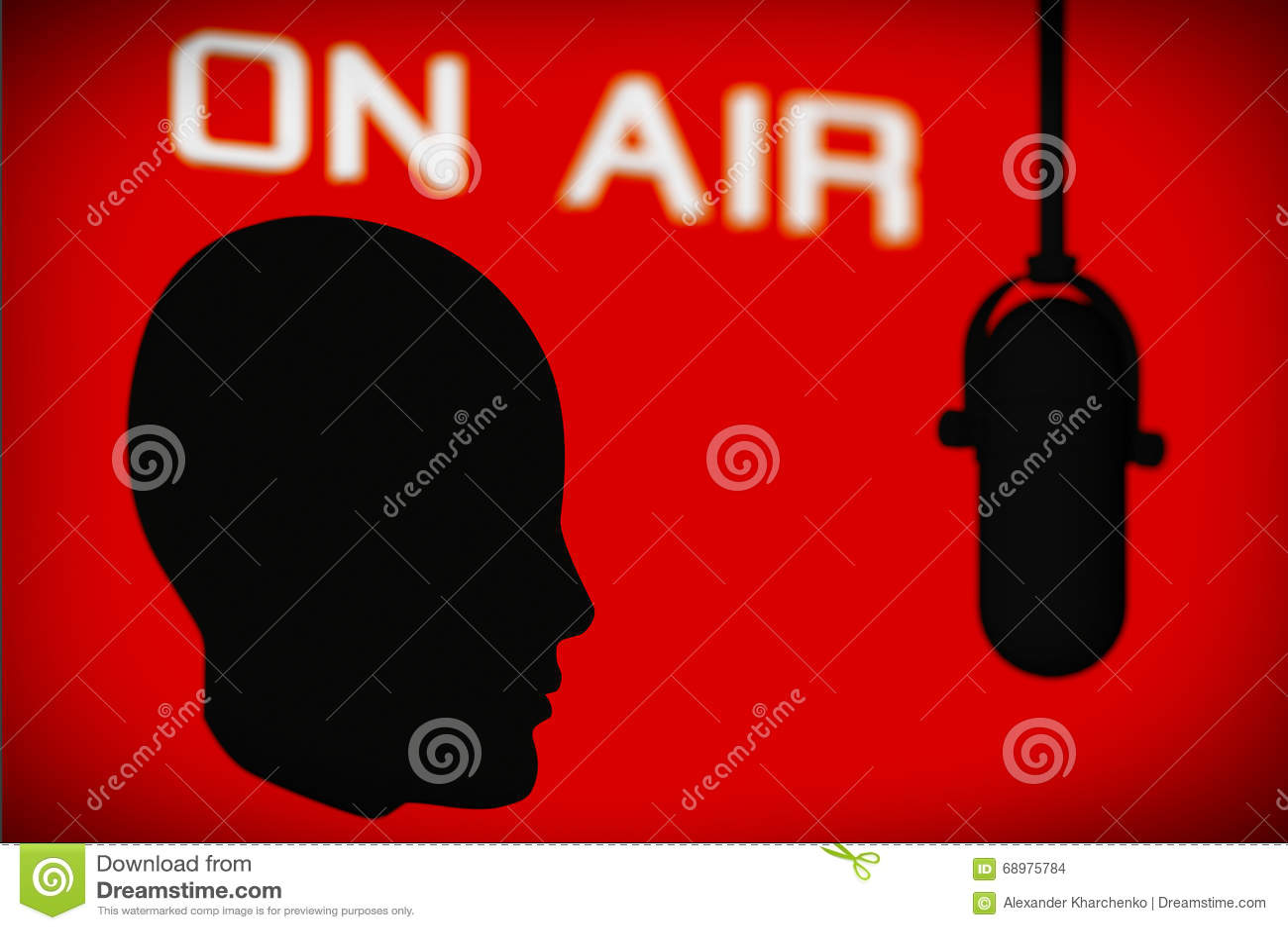 Esquema de la cabeza con el micrófono del vintage y en muestra del aire