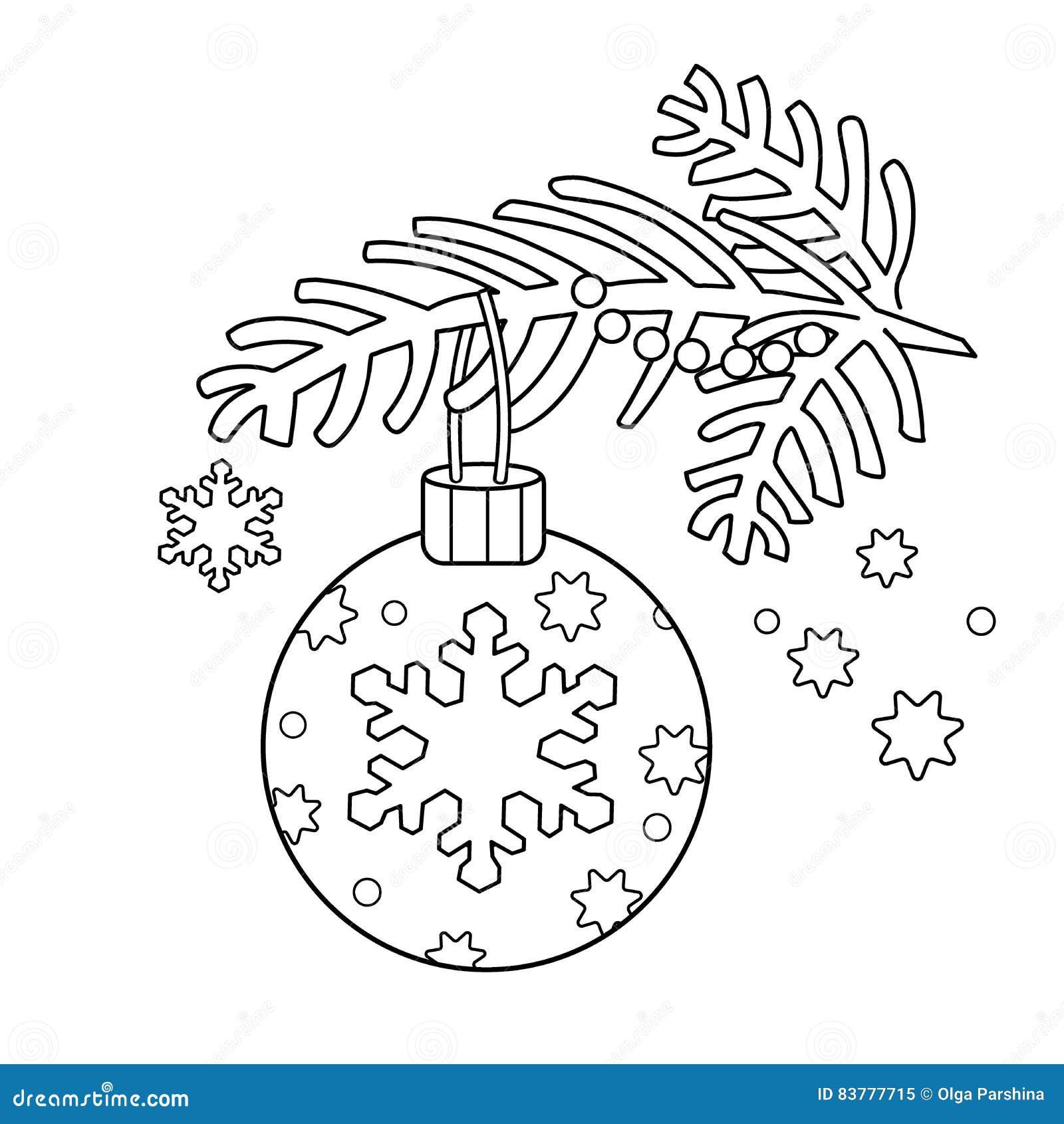 Esquema De La Página Que Colorea De La Decoración De La Navidad Rama