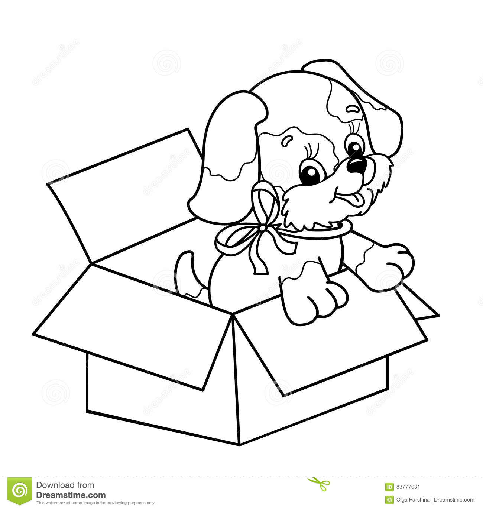 Esquema De La Página Que Colorea Del Perrito Lindo En Caja Perro De ...