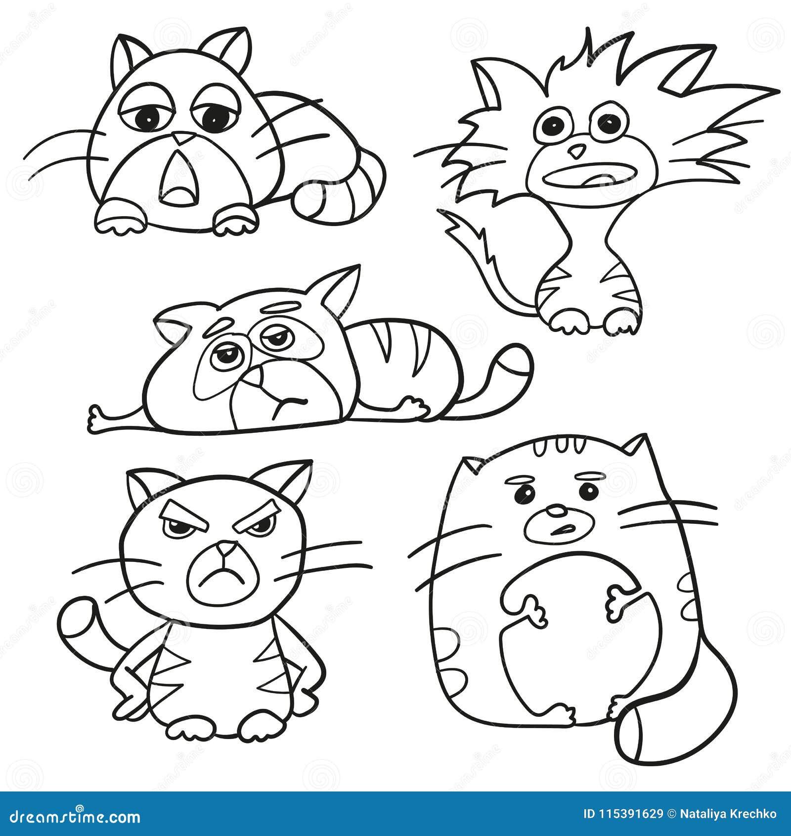 Esquema De La Página Que Colorea De Los Gatos Mullidos De La ...