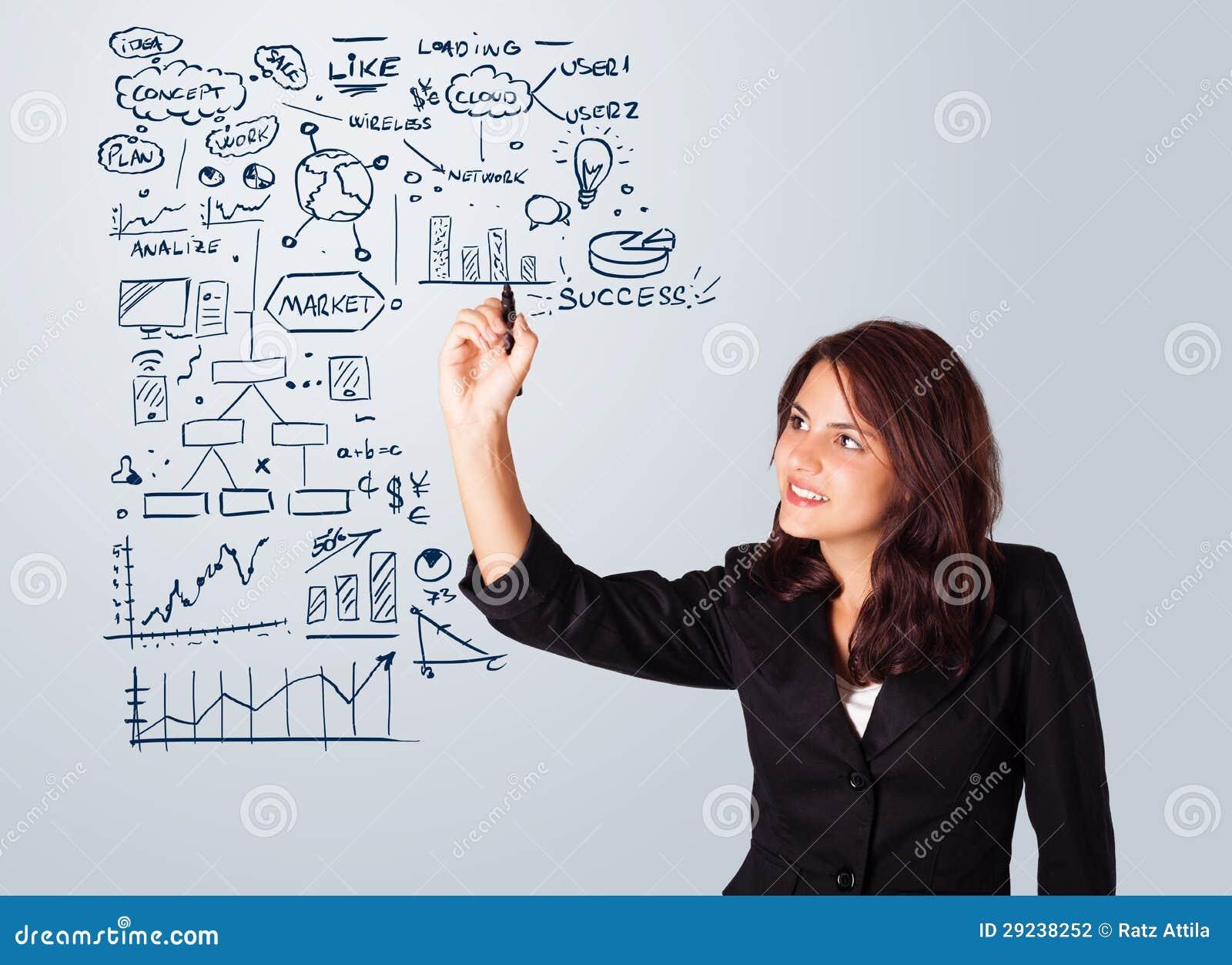 Download Esquema E ícones Do Negócio Do Desenho Da Mulher No Whiteboard Foto de Stock - Imagem de bulbo, gráfico: 29238252