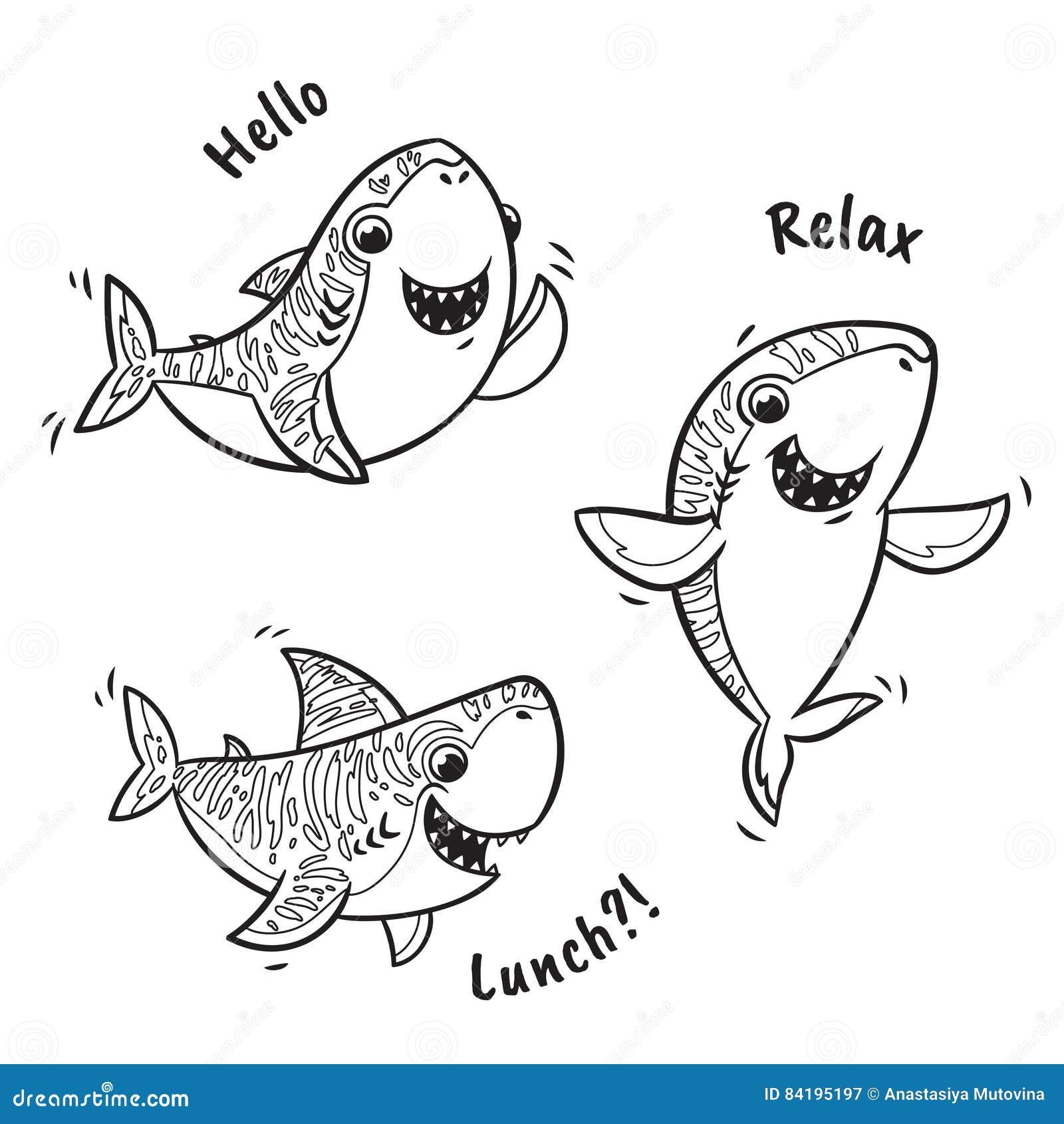 Esquema Fijado Con El Tiburón En Estilo De La Historieta