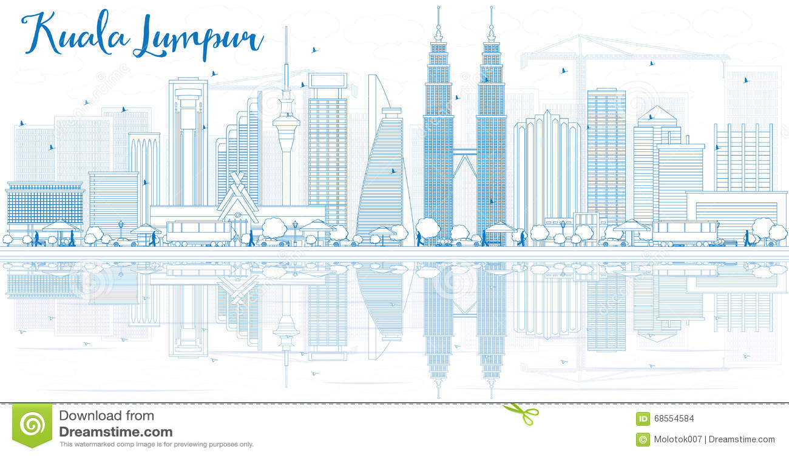 Esquema Kuala Lumpur Skyline con los edificios azules y las reflexiones