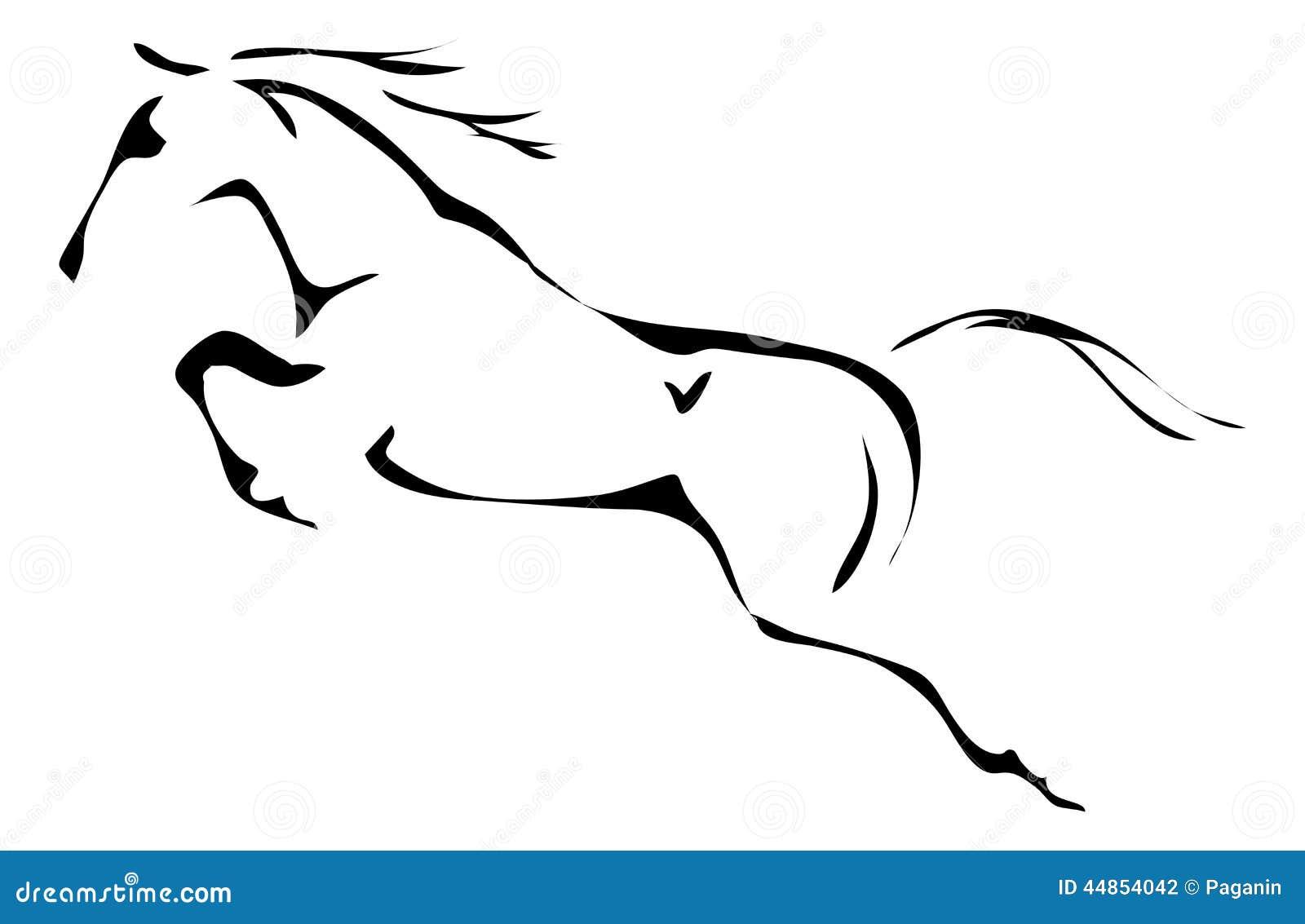 Esquemas blancos y negros del vector del caballo de salto