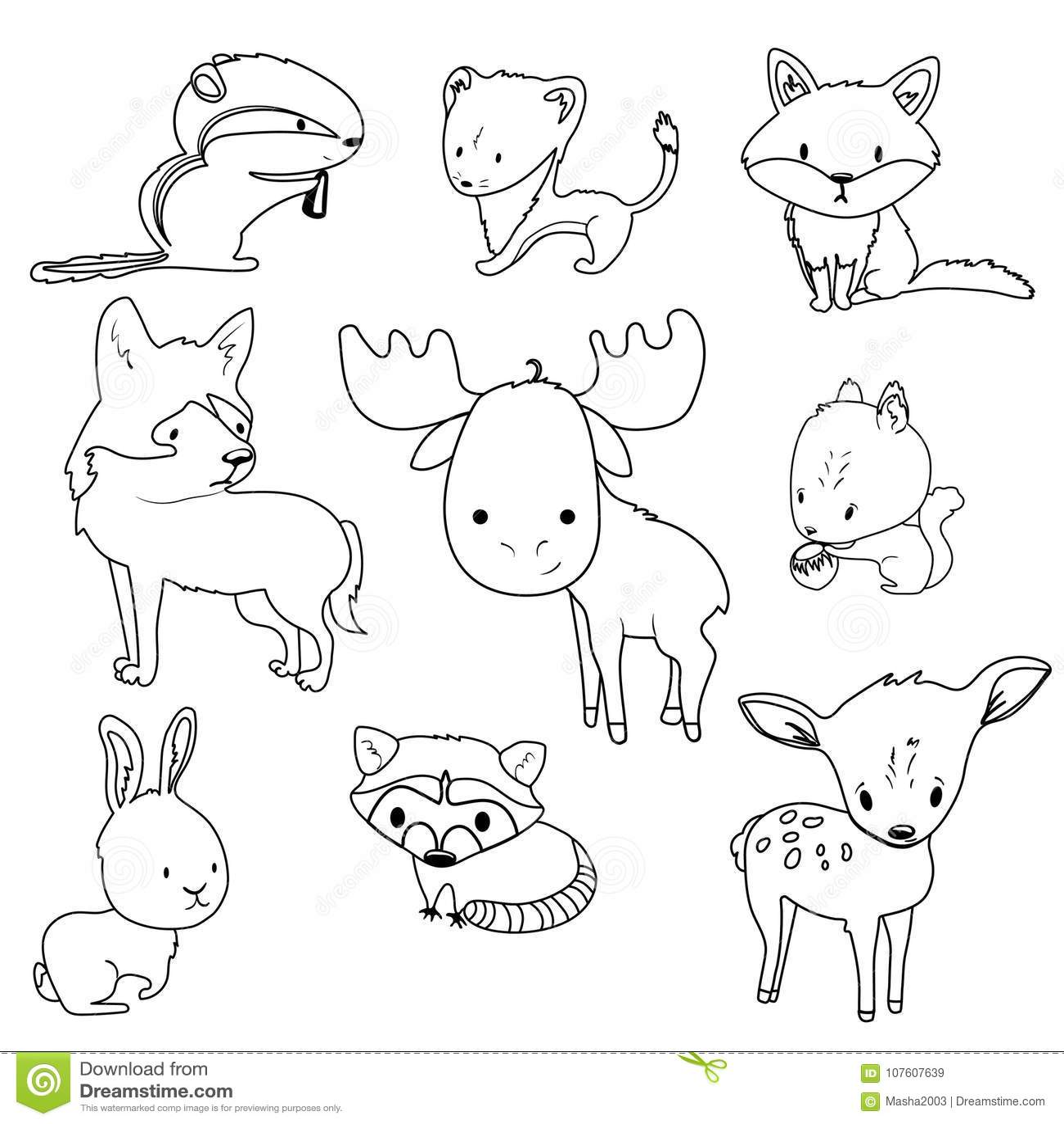 Esquemas De Los Animales Del Bosque Fijados Para Colorear