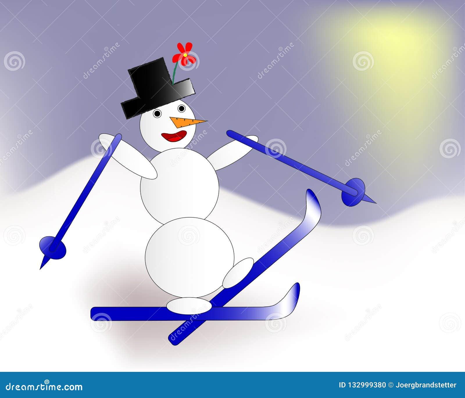 Esqui engraçado do boneco de neve nas montanhas