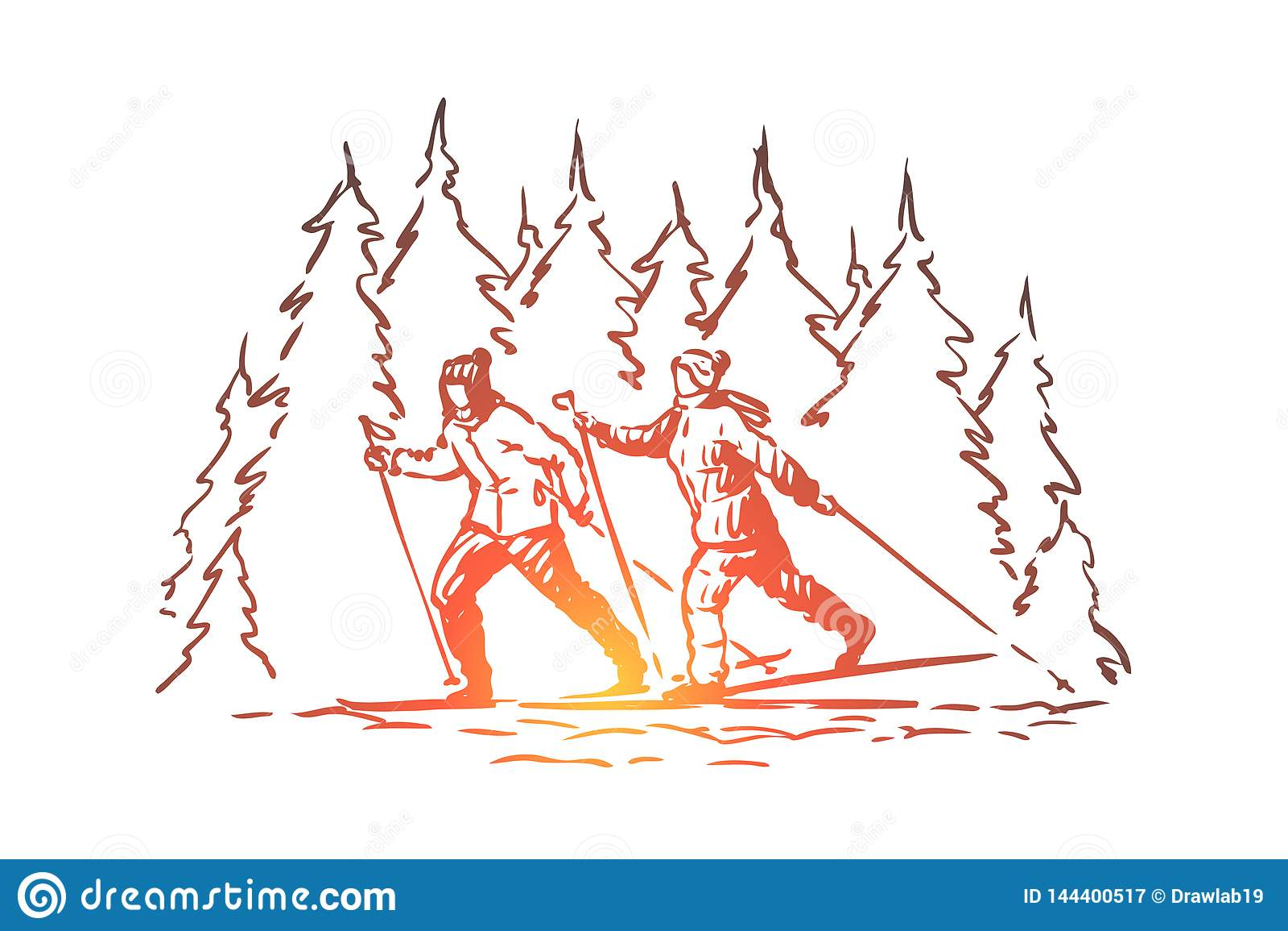 Esqui, esporte, inverno, montanhas, conceito da neve Vetor isolado tirado m?o