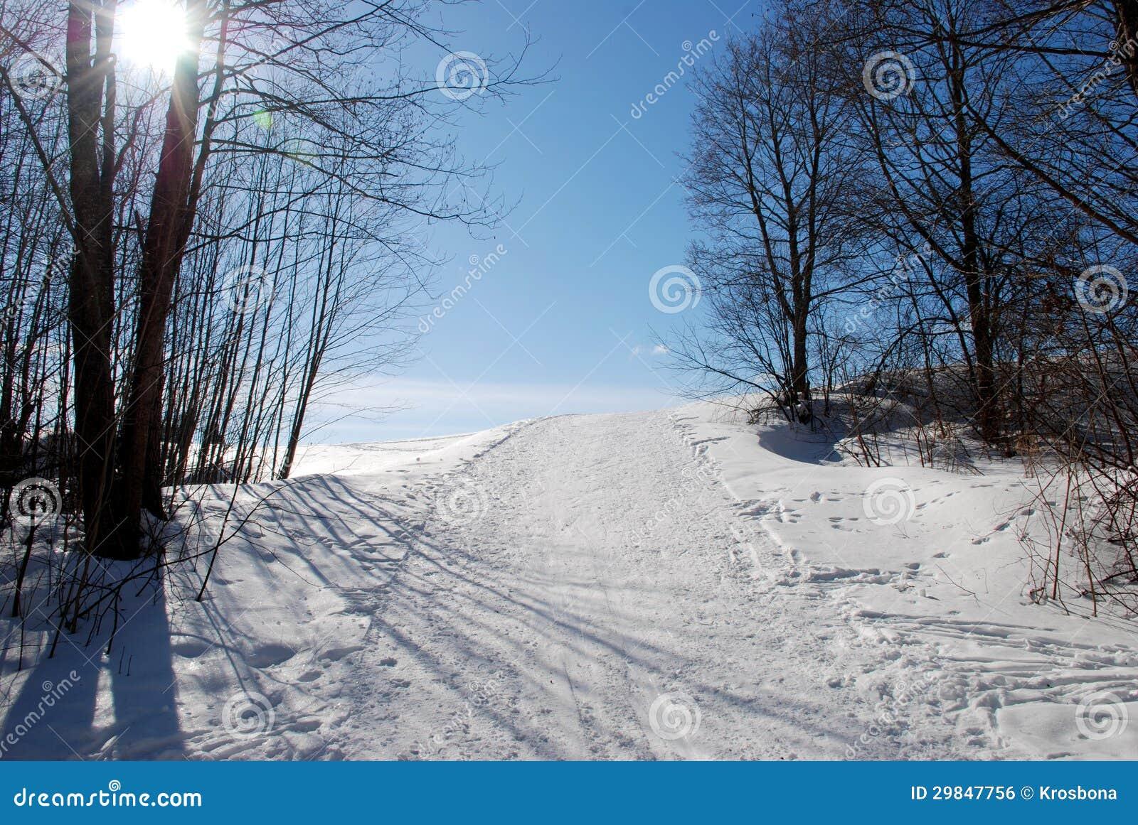 Esqui que visita a trilha