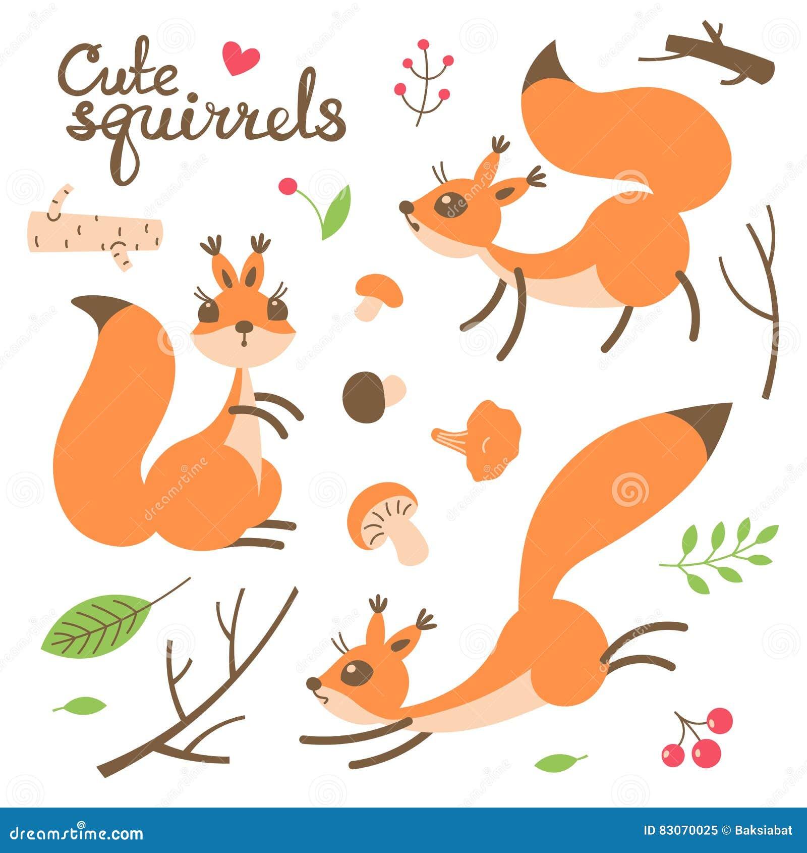Esquilo bonito dos desenhos animados Esquilos engraçados pequenos Ilustração do vetor
