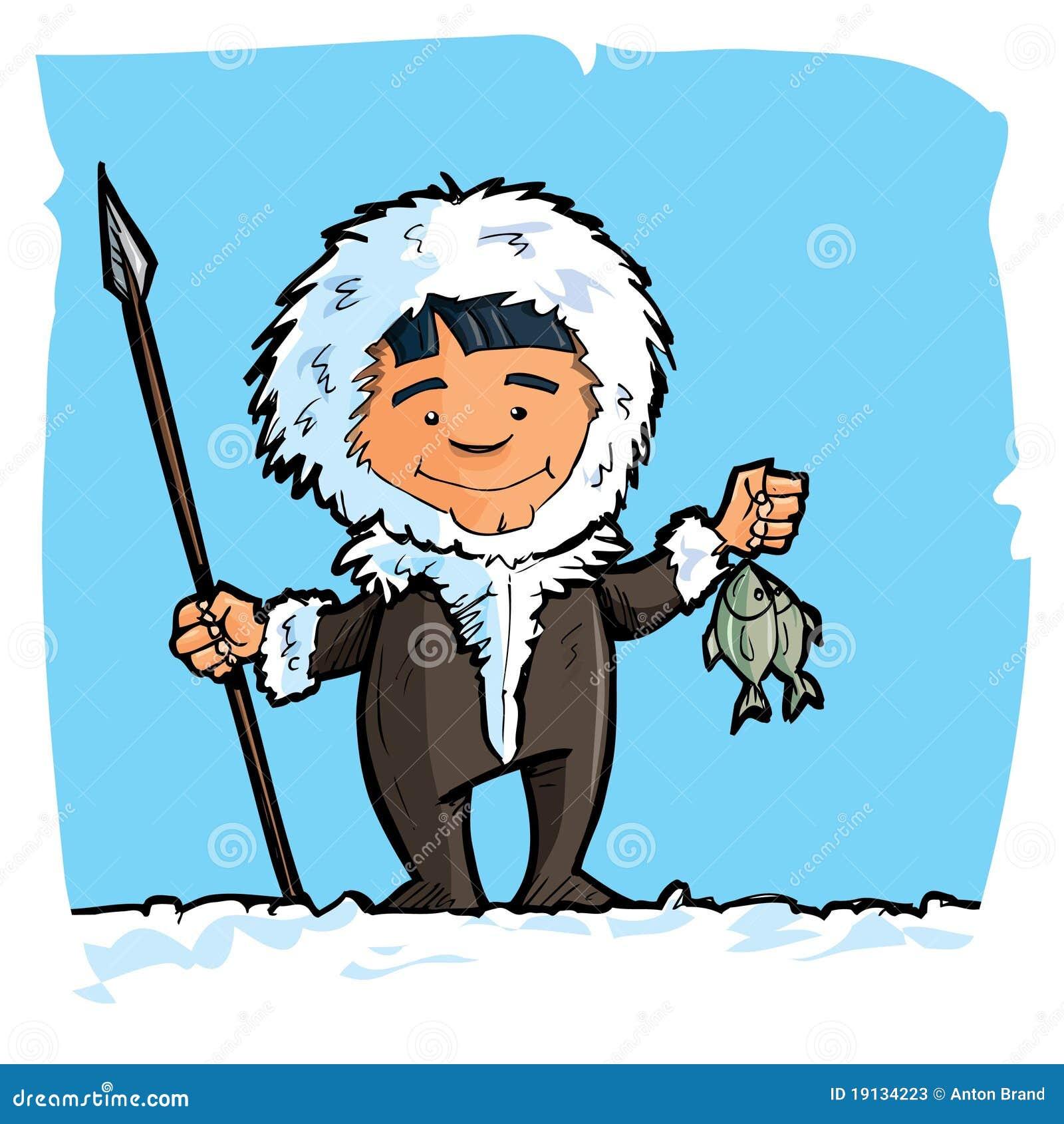 Esquimau de dessin anim avec une lance et un poisson - Esquimau dessin ...