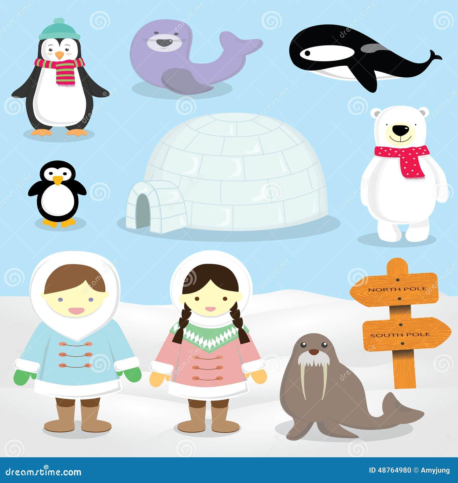 Esquimau p le nord animaux d 39 arctique de personnes d 39 inuit illustration stock illustration - Animaux pole nord ...