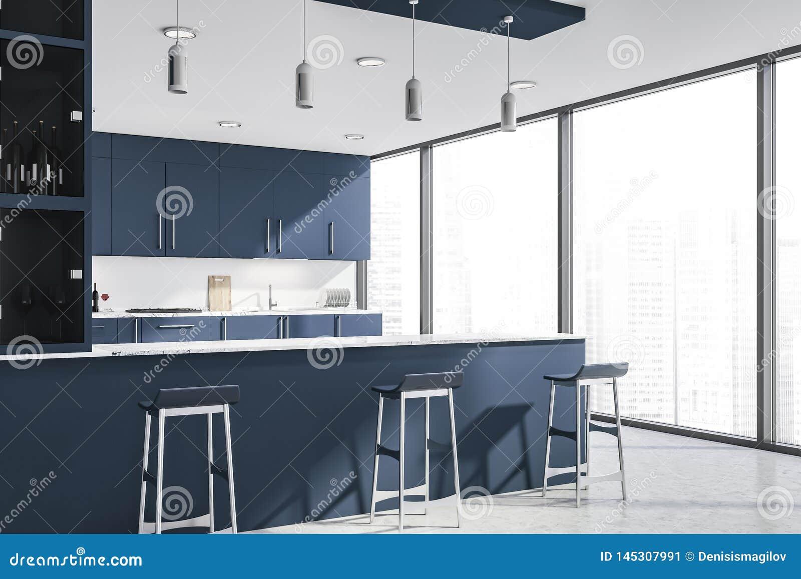 Esquina De La Cocina Azul Marino Con La Barra Stock De Ilustracion
