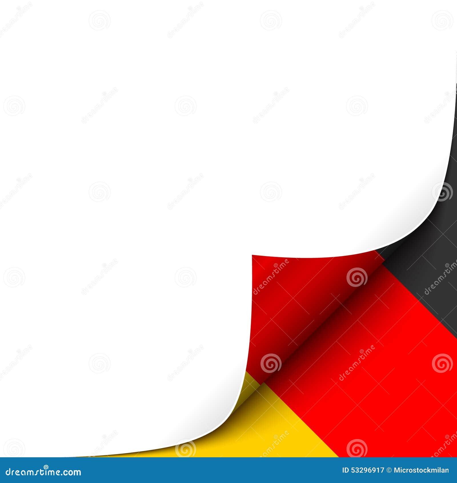 Esquina De Papel Encrespada Con El Fondo De La Bandera De Alemania ...