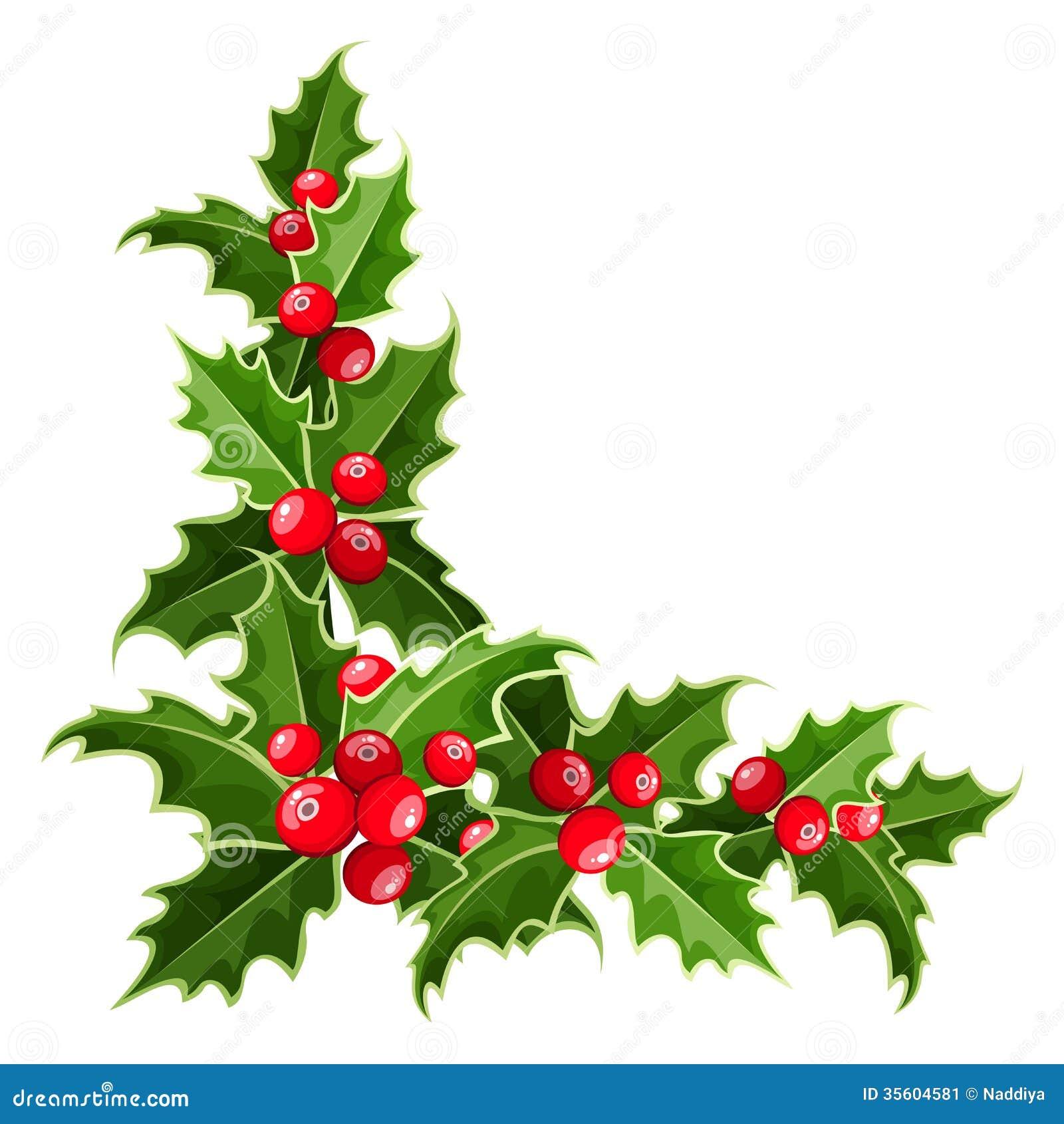 Esquina decorativa con acebo de la Navidad.
