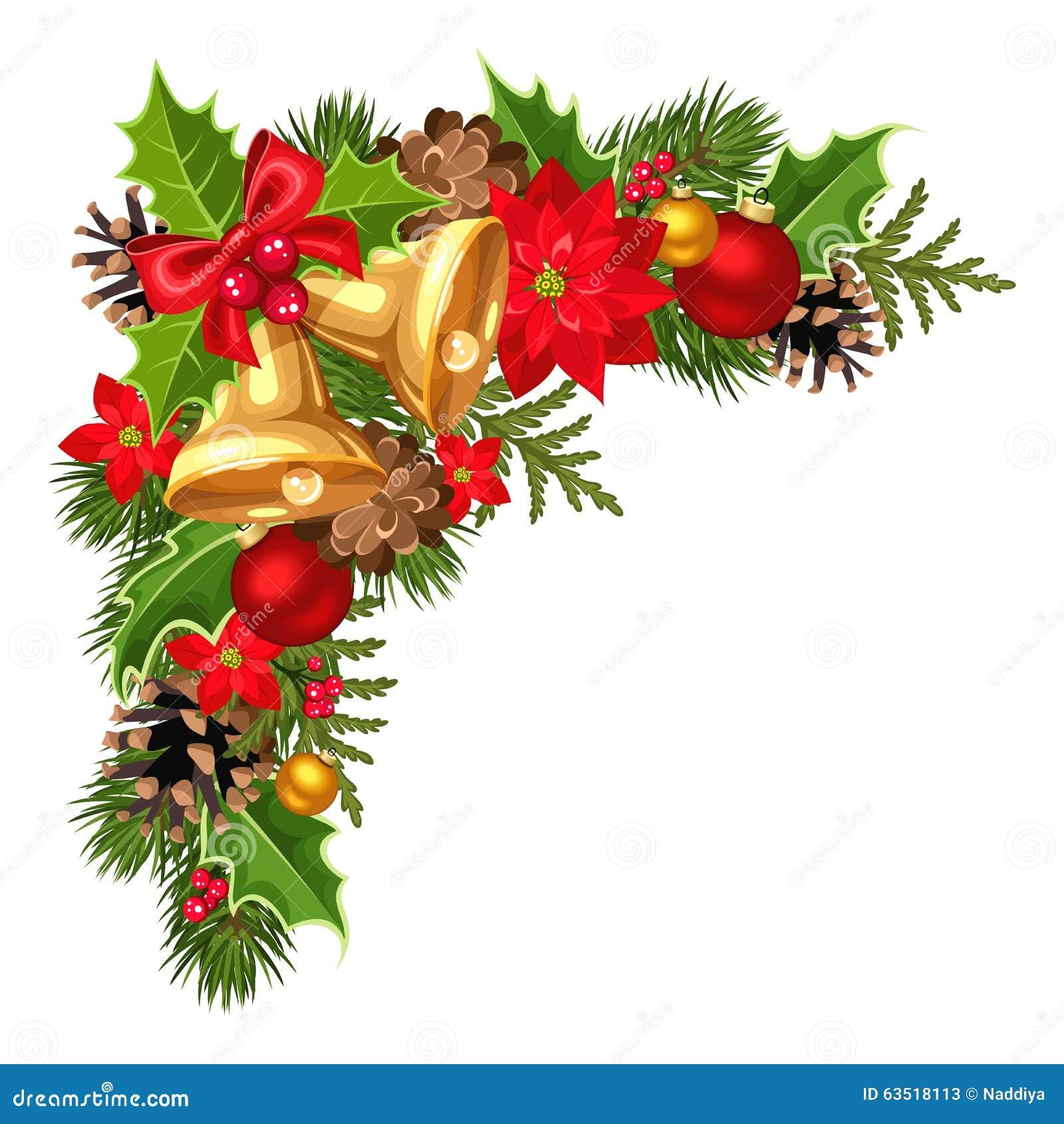 Esquina decorativa de la Navidad con las ramas, las bolas, las campanas, el acebo, la poinsetia y los conos del abeto Ilustración
