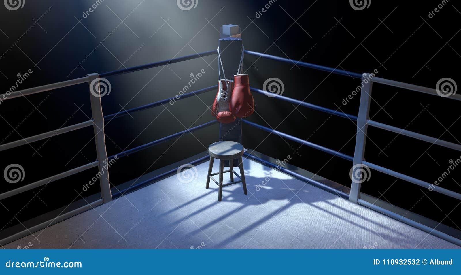 Esquina del boxeo y guantes de boxeo